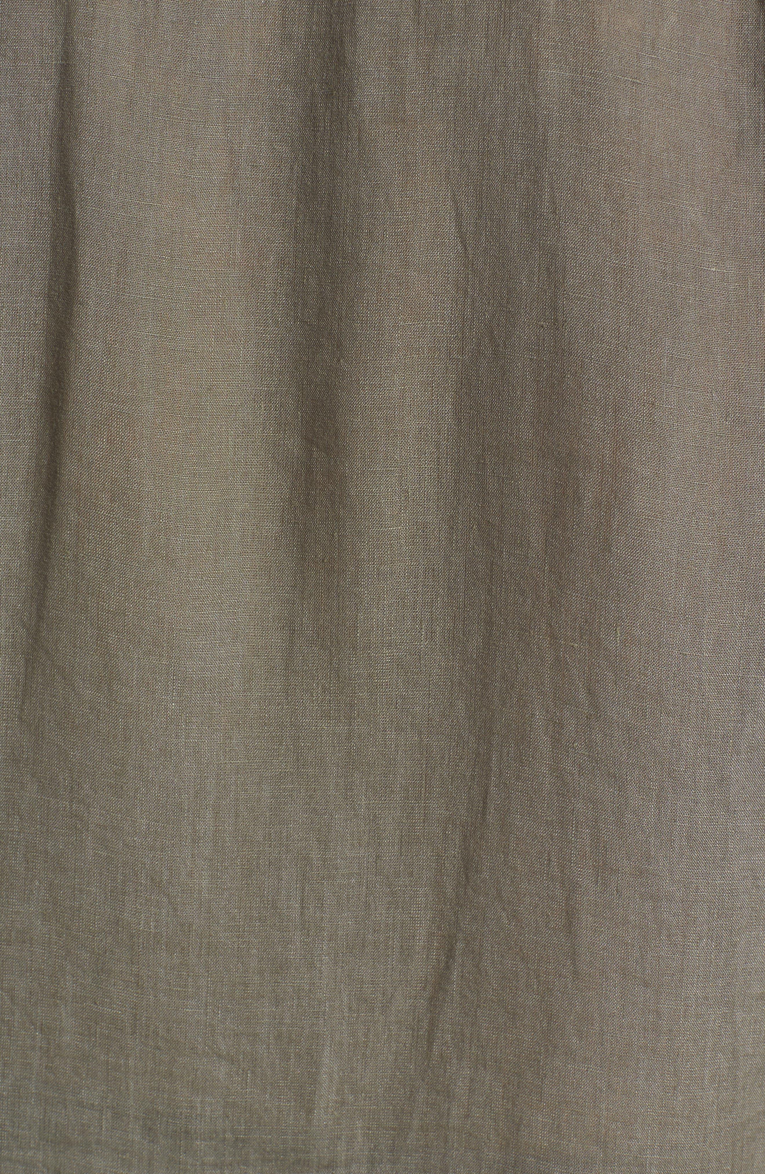 Trim Fit Linen Sport Shirt,                             Alternate thumbnail 5, color,                             Desert Green