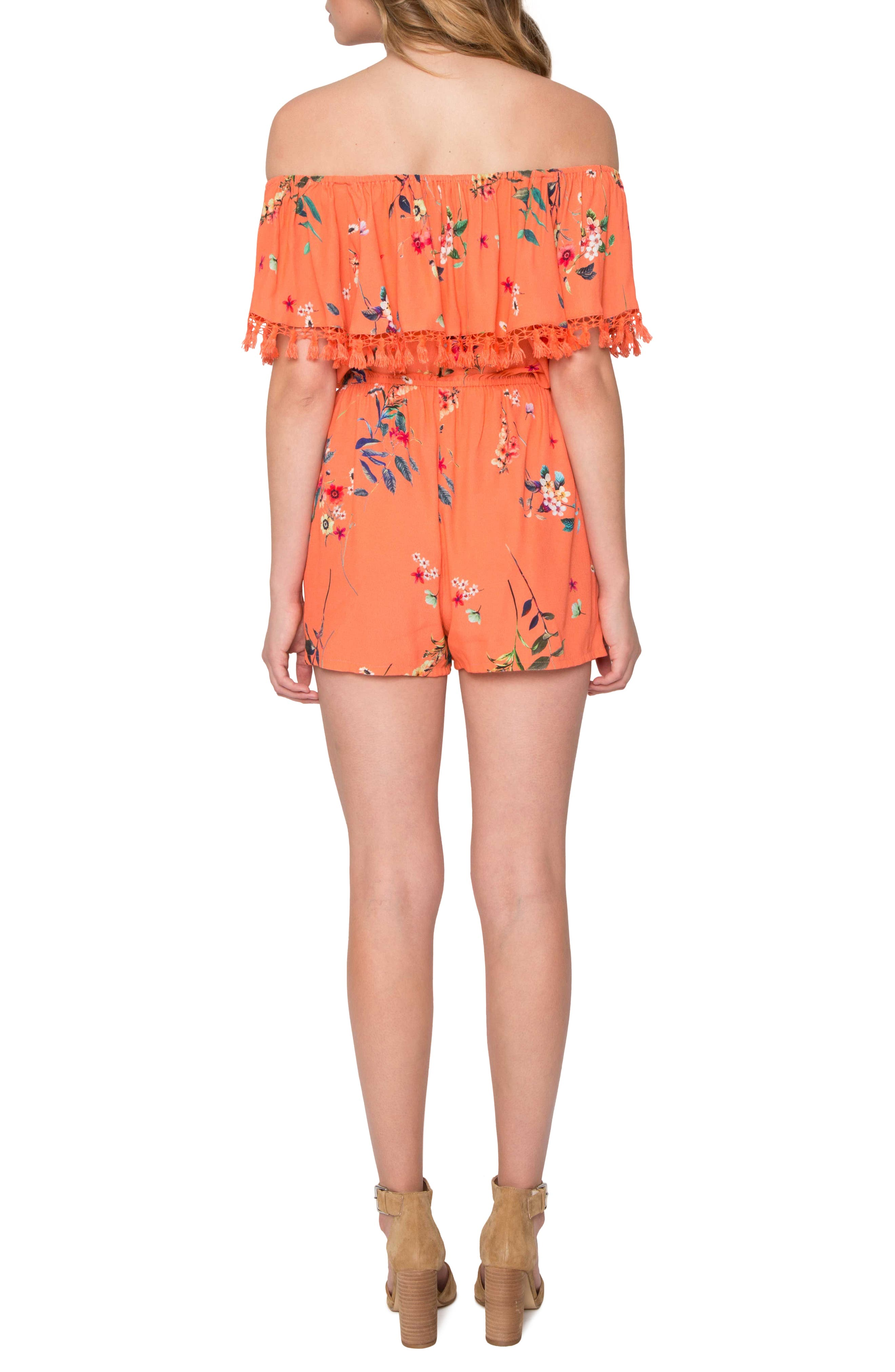 Alternate Image 2  - Willow & Clay Off the Shoulder Ruffle Romper