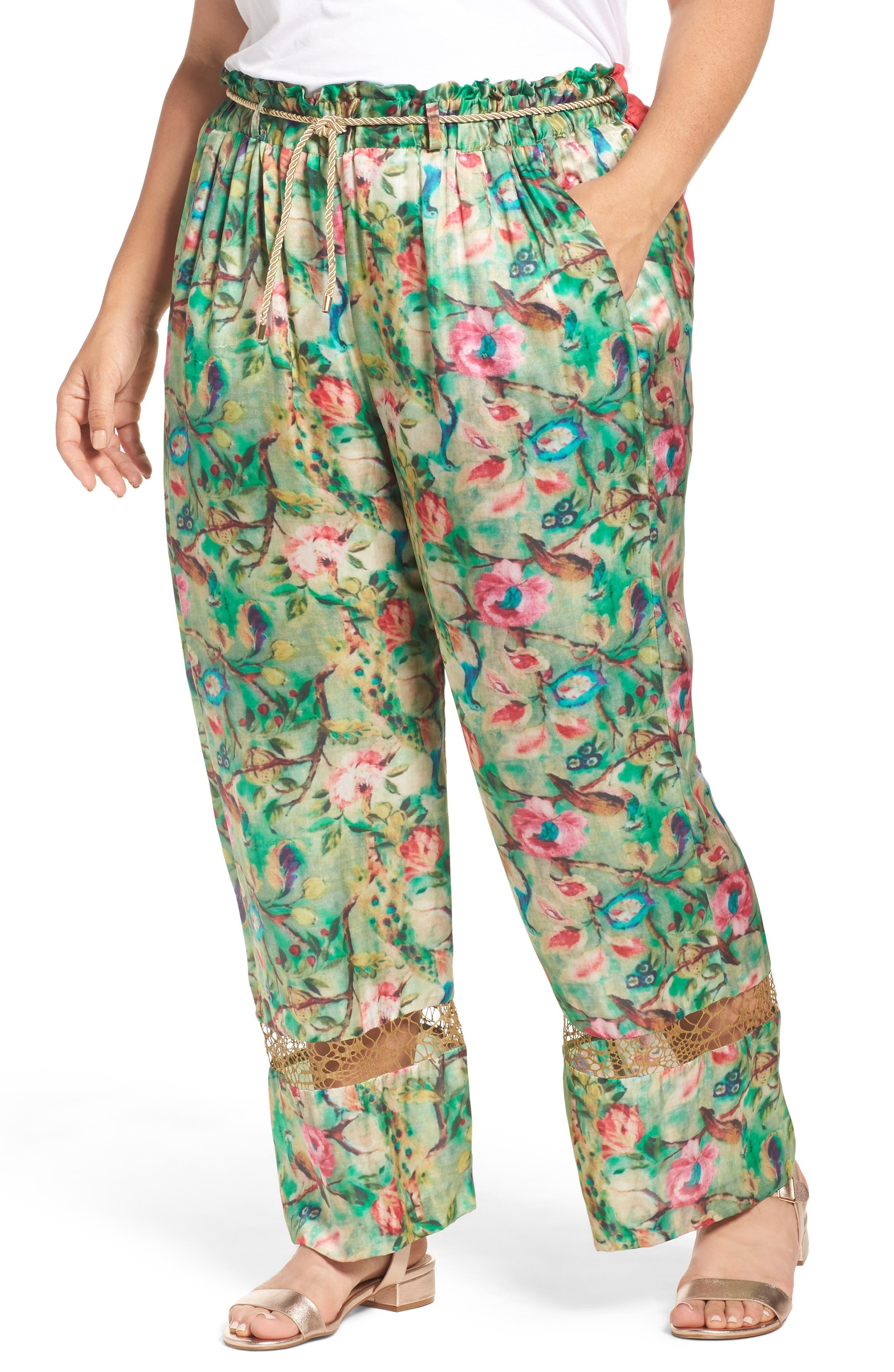 ELVI Belted Floral Wide Leg Pants (Plus Size)