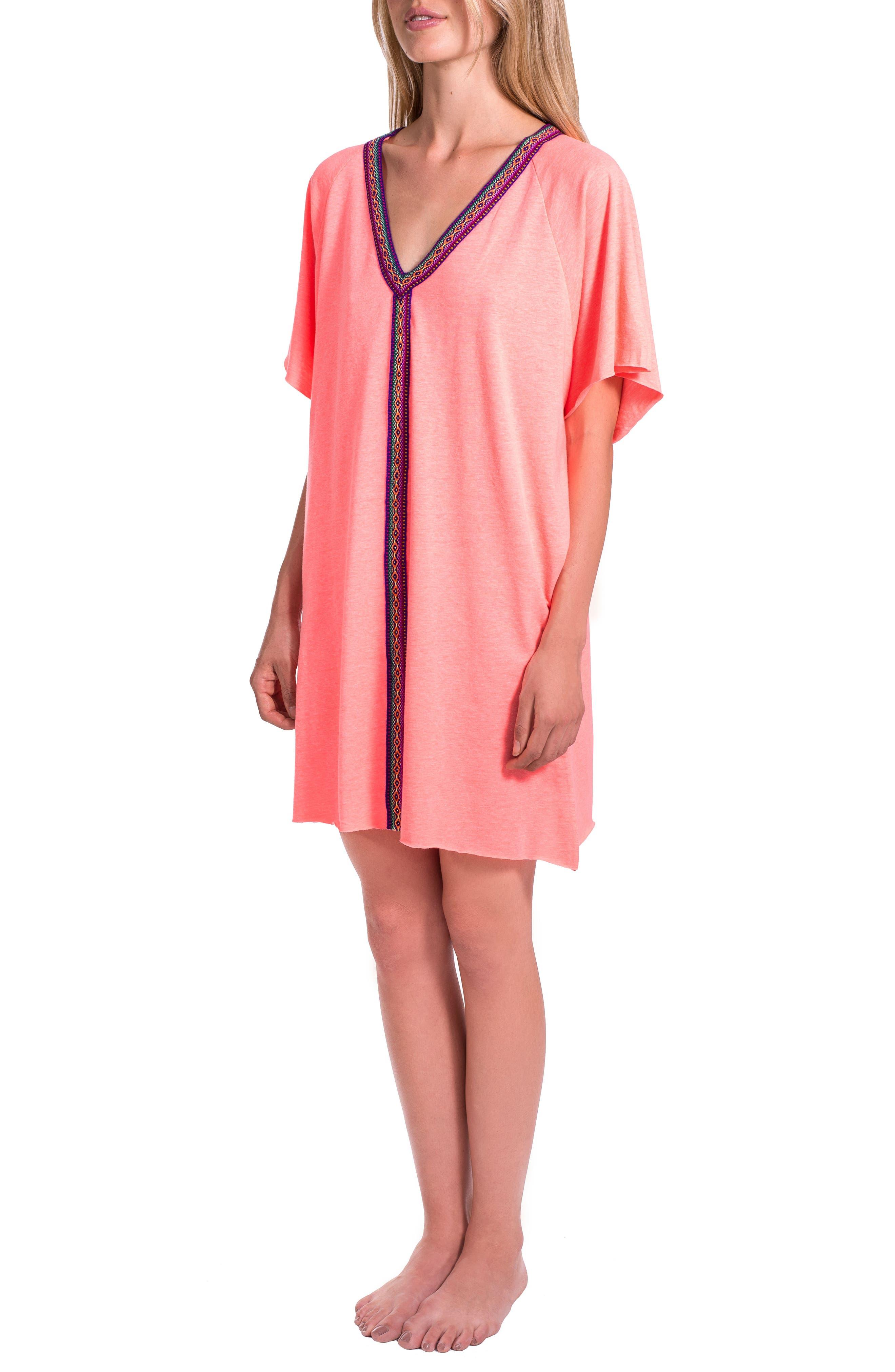 Abaya Cover-Up Minidress,                         Main,                         color, Coral