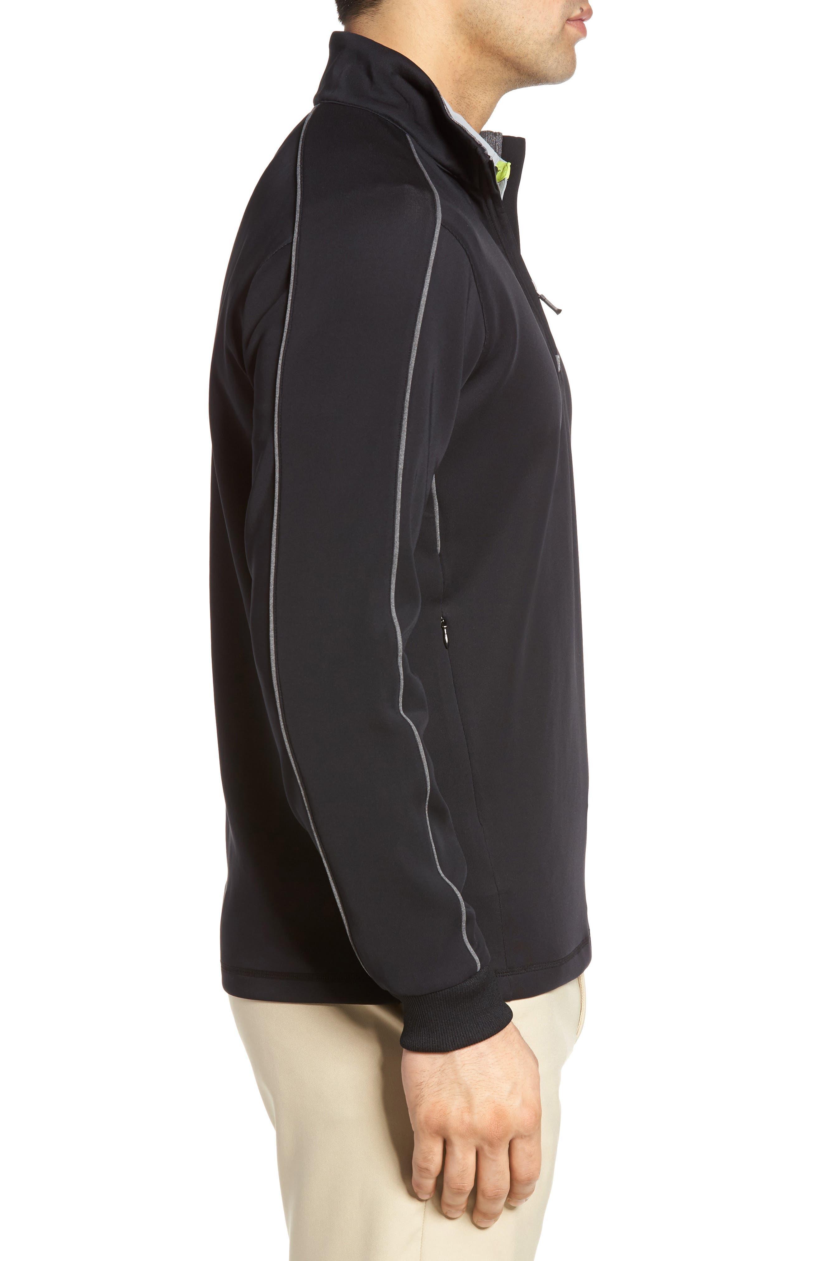 Tech Quarter Zip Pullover,                             Alternate thumbnail 3, color,                             Black