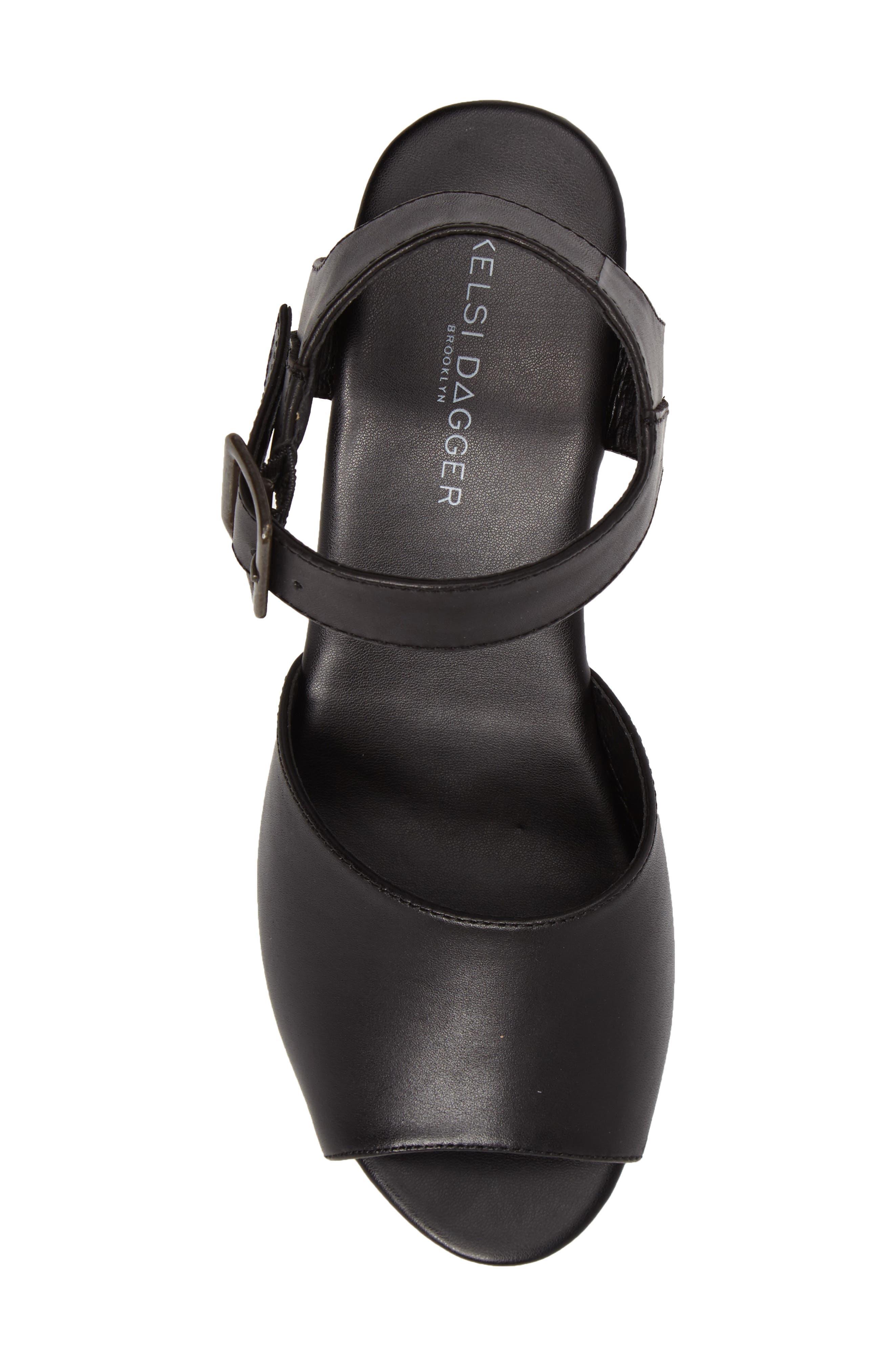 Montgomery Platform Sandal,                             Alternate thumbnail 5, color,                             Black Leather