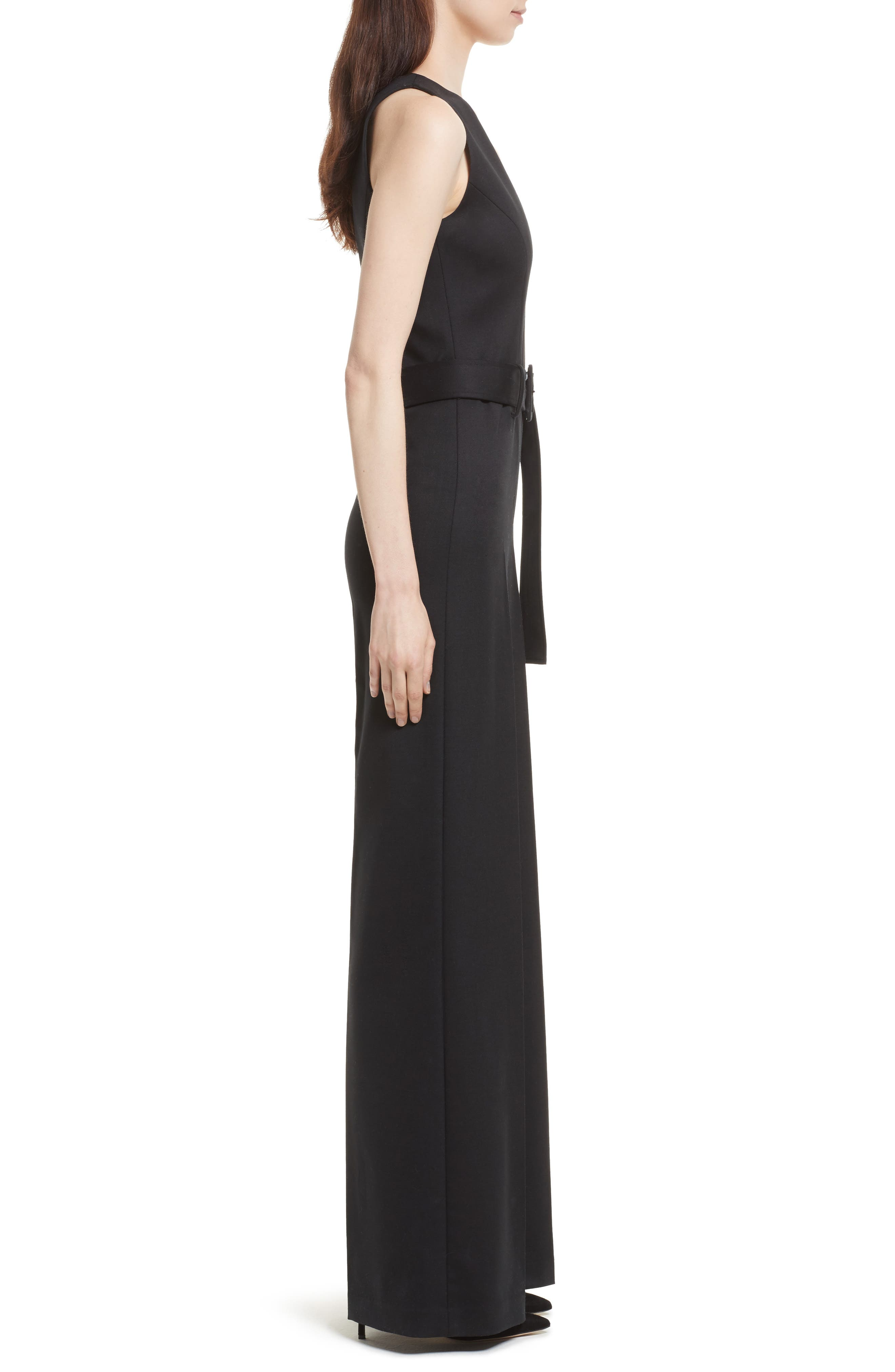 Tuxedo Wool Belted Jumpsuit,                             Alternate thumbnail 3, color,                             Black