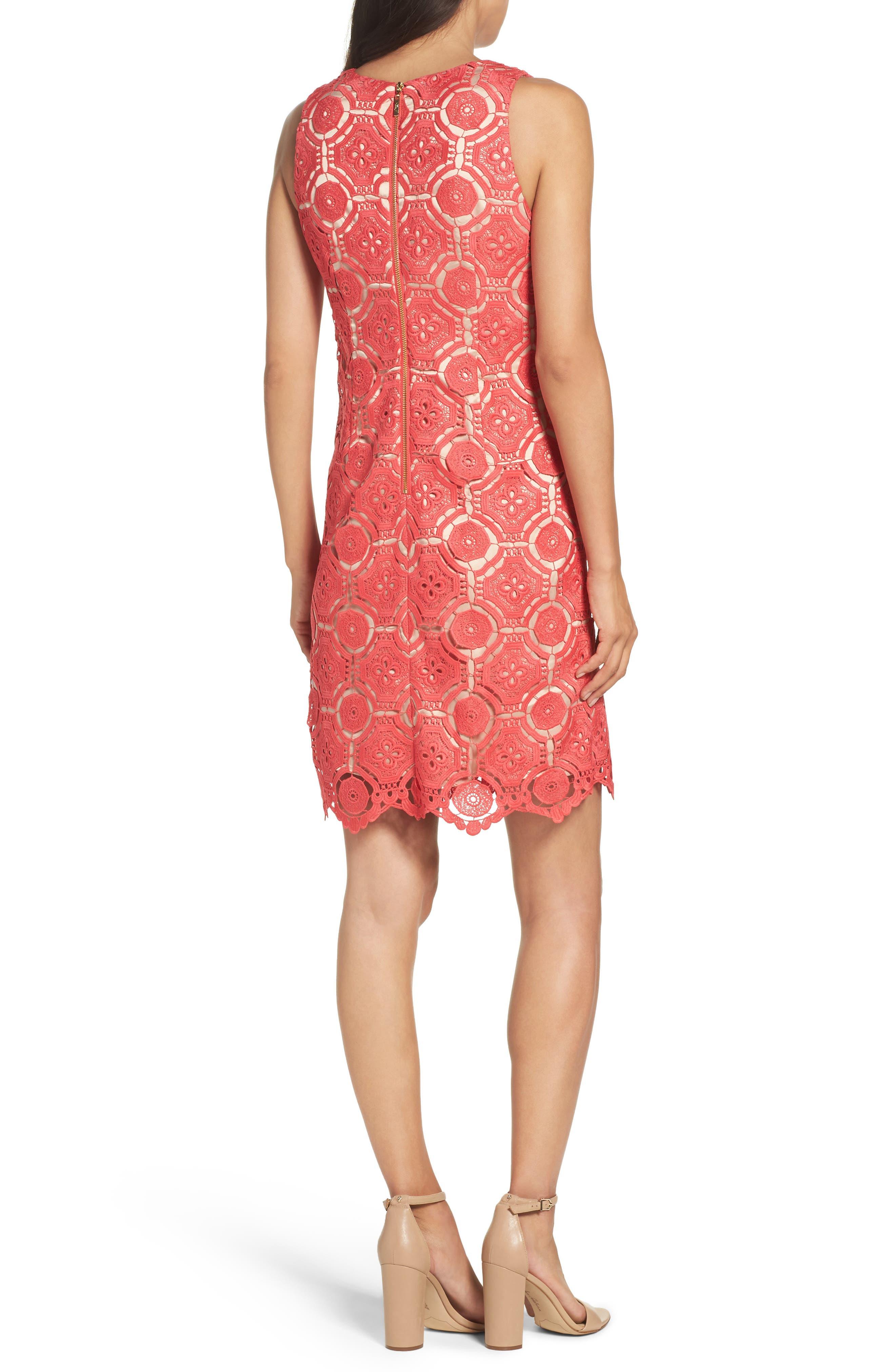Lace Shift Dress,                             Alternate thumbnail 2, color,                             Poppy
