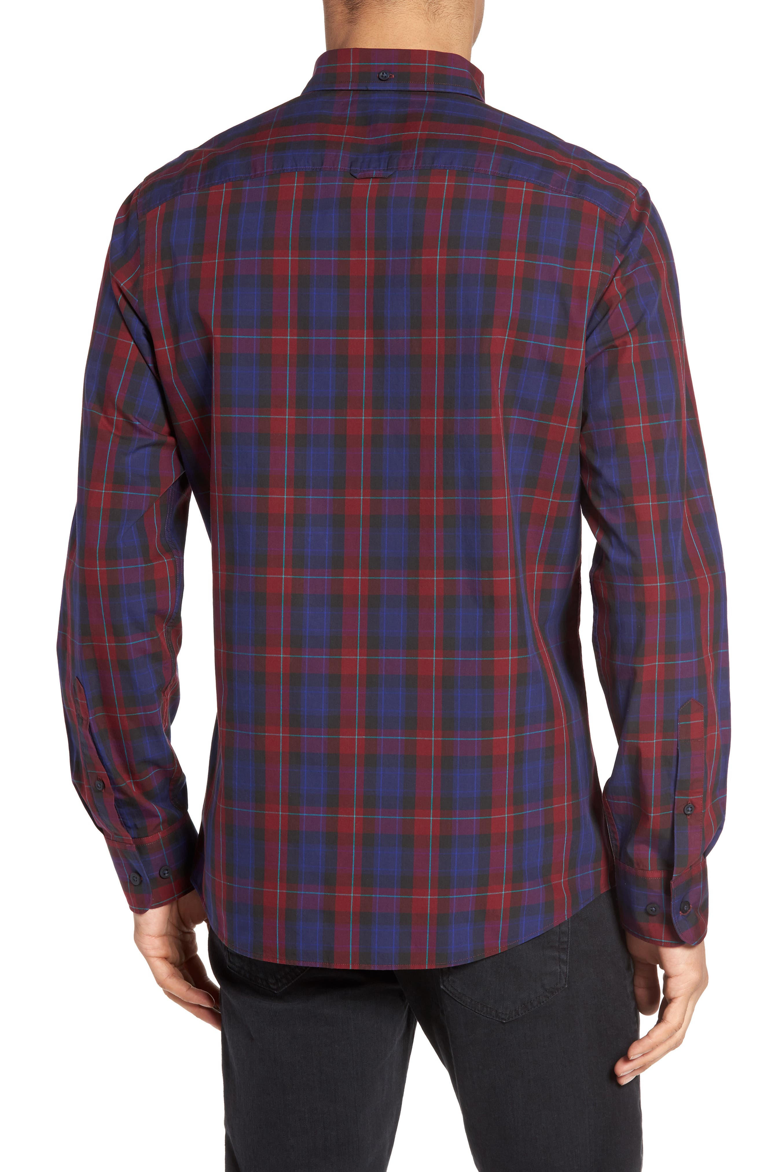 Slim Fit Plaid Sport Shirt,                             Alternate thumbnail 2, color,                             Red Ruby Large Check