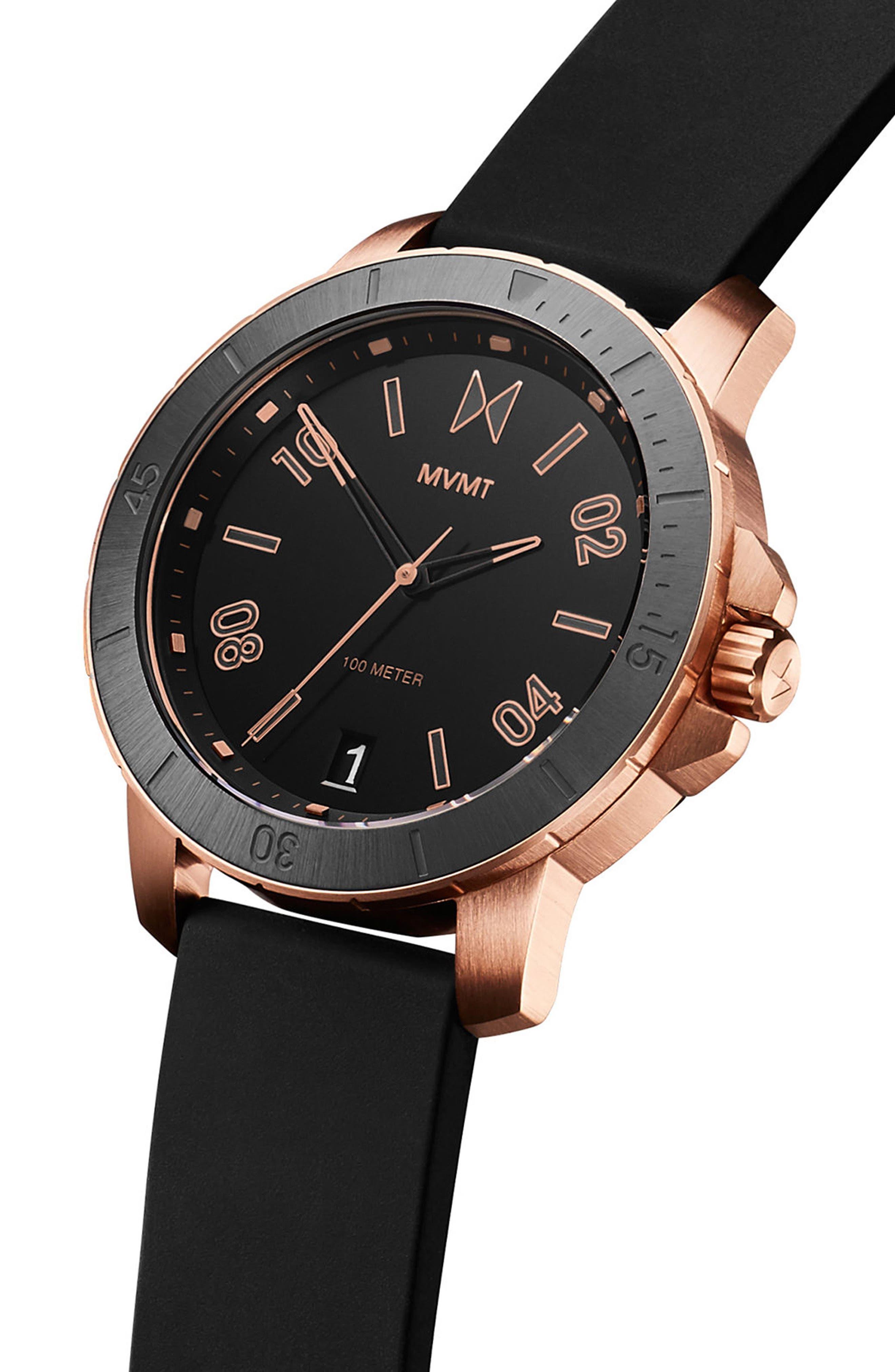 Modern Sport Silicone Strap Watch, 42mm,                             Alternate thumbnail 3, color,                             Black/ Black