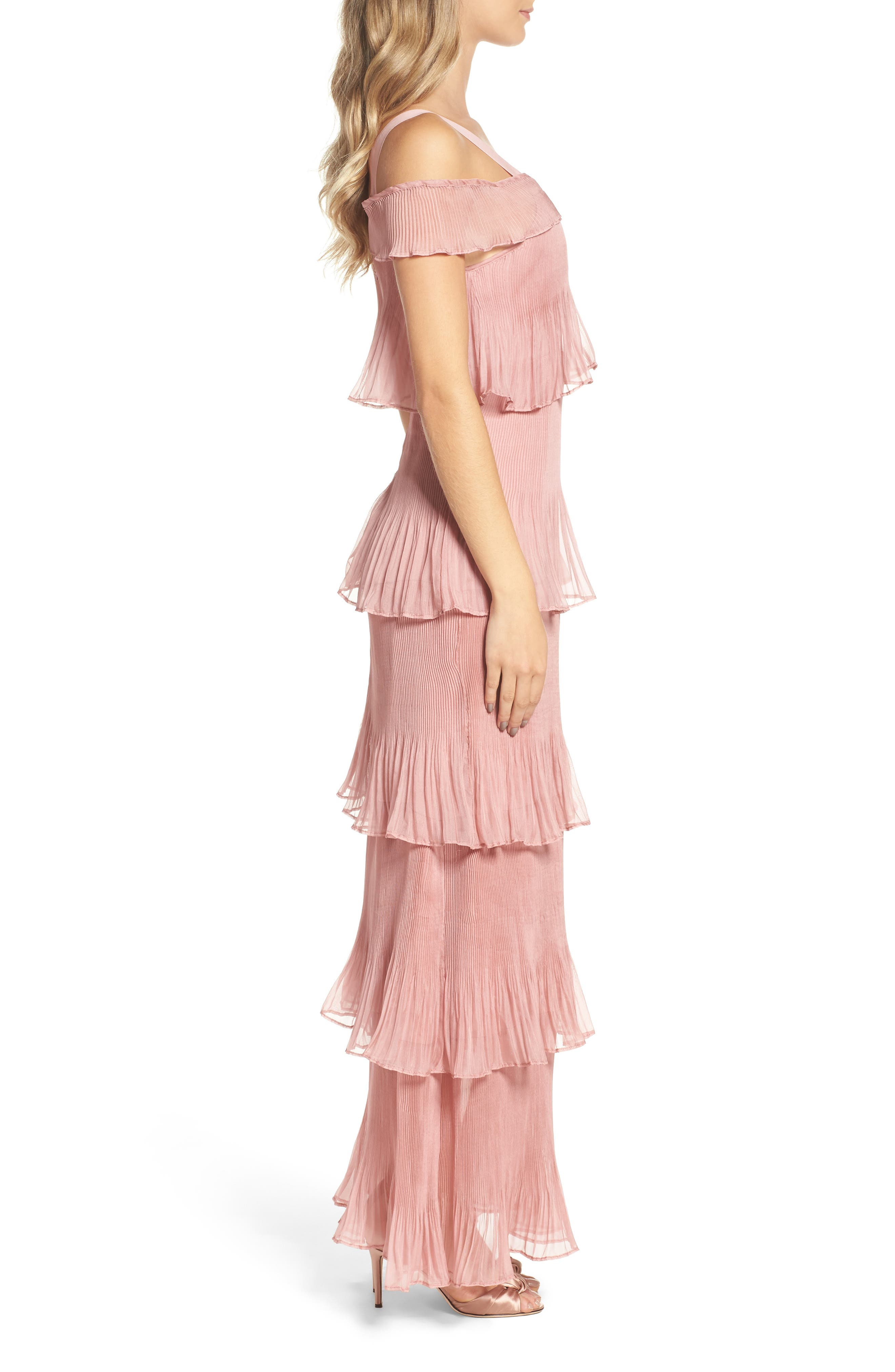 Cold Shoulder Ruffle Gown,                             Alternate thumbnail 3, color,                             Dusty Pink
