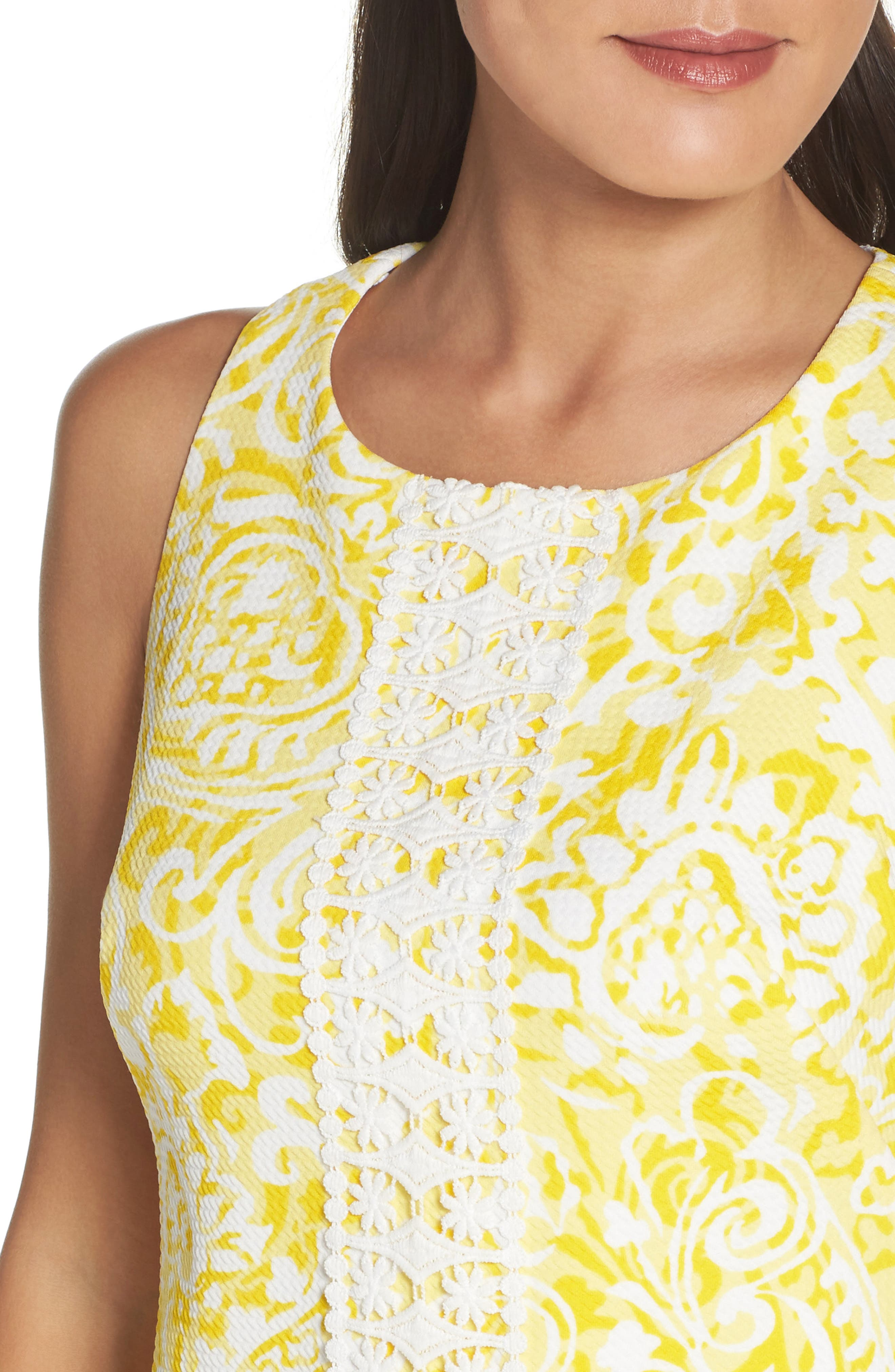 Print Shift Dress,                             Alternate thumbnail 5, color,                             Yellow
