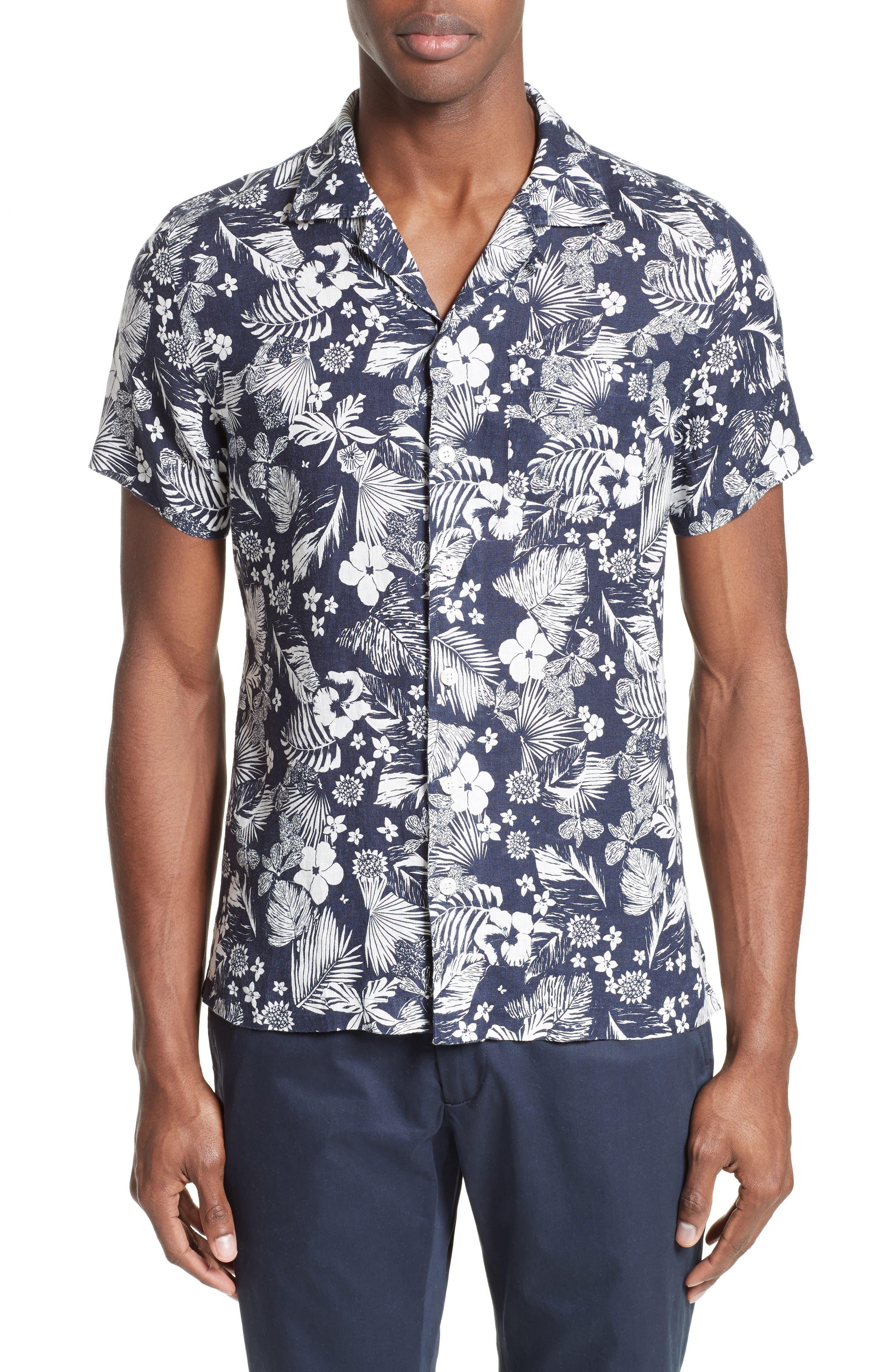 Alternate Image 1 Selected - Todd Snyder Trim Fit Floral Print Linen Camp Shirt