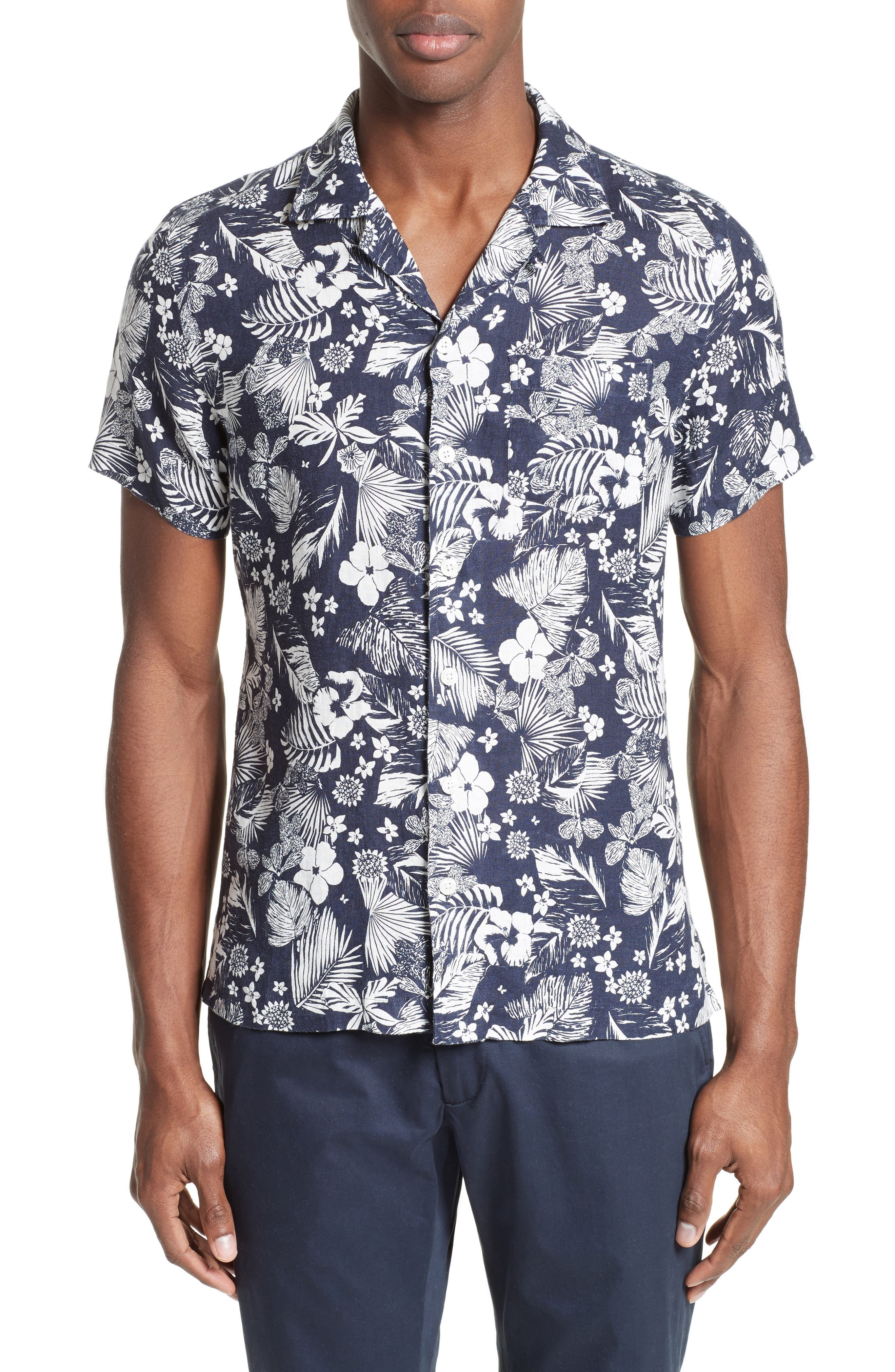 Todd Snyder Trim Fit Floral Print Linen Camp Shirt