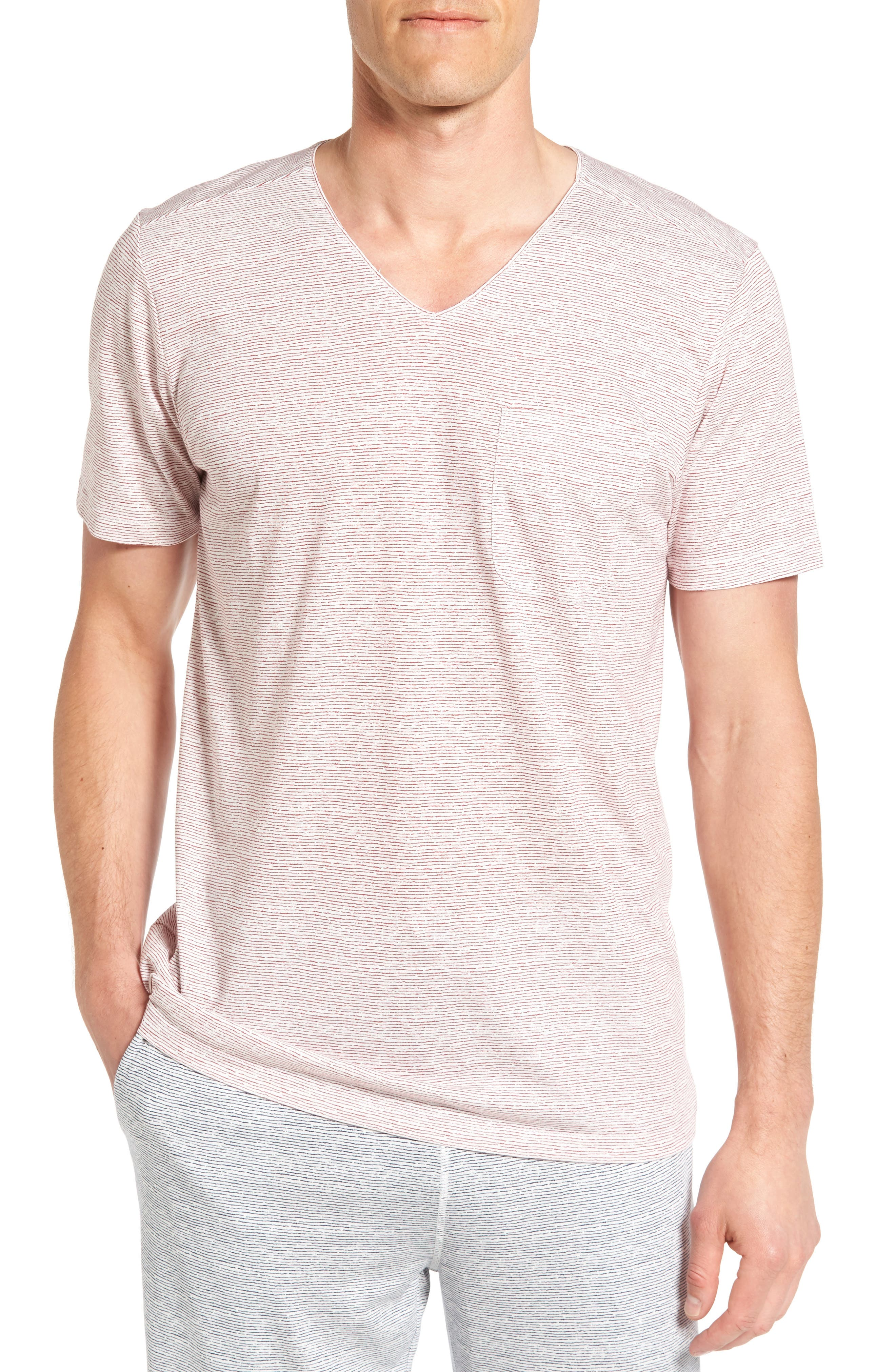 Daniel Buchler Feeder Stripe Pima Cotton & Modal V-Neck T-Shirt