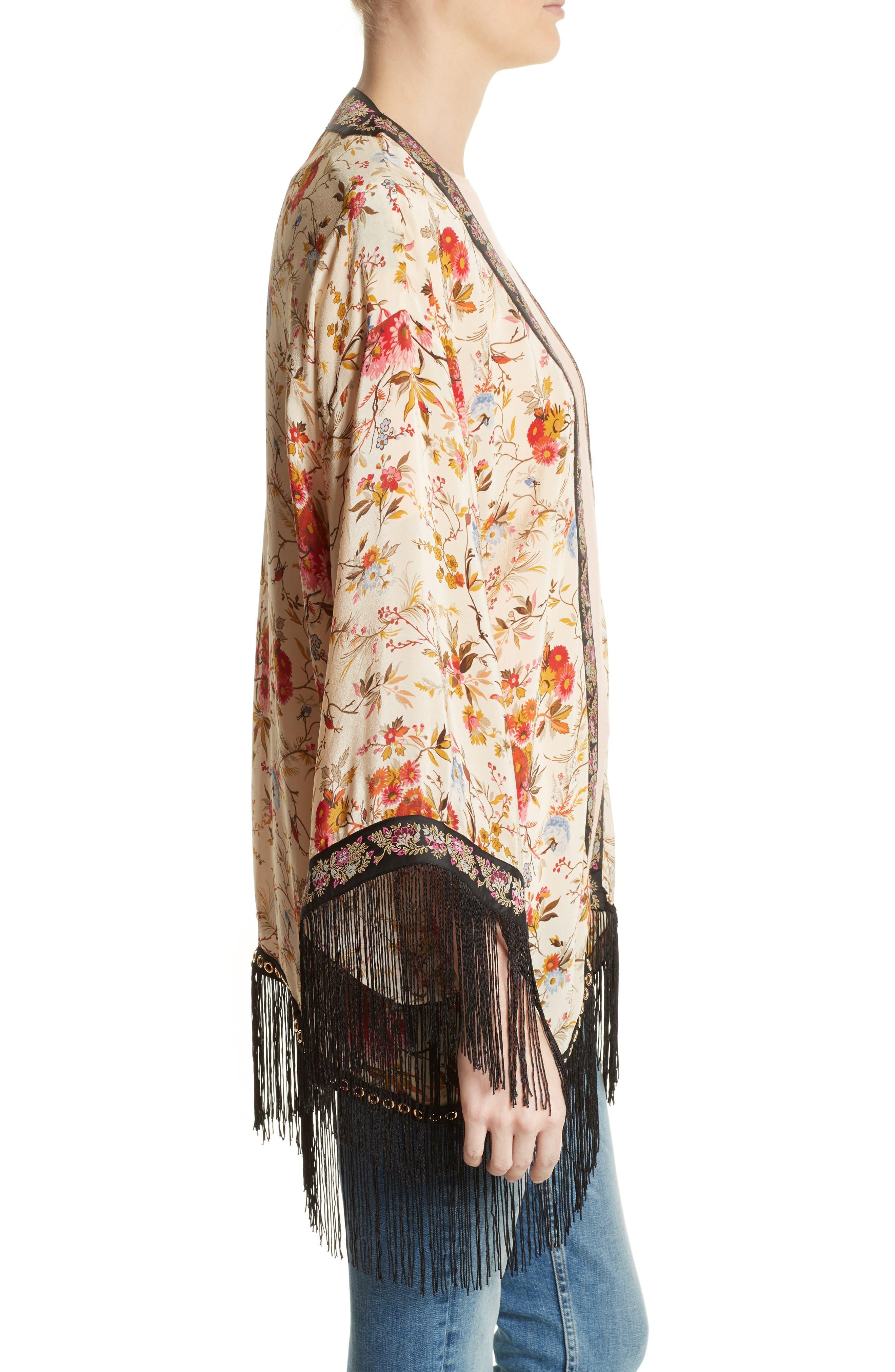 Alternate Image 3  - The Kooples Fleurs D'Artifice Floral Print Fringe Kimono