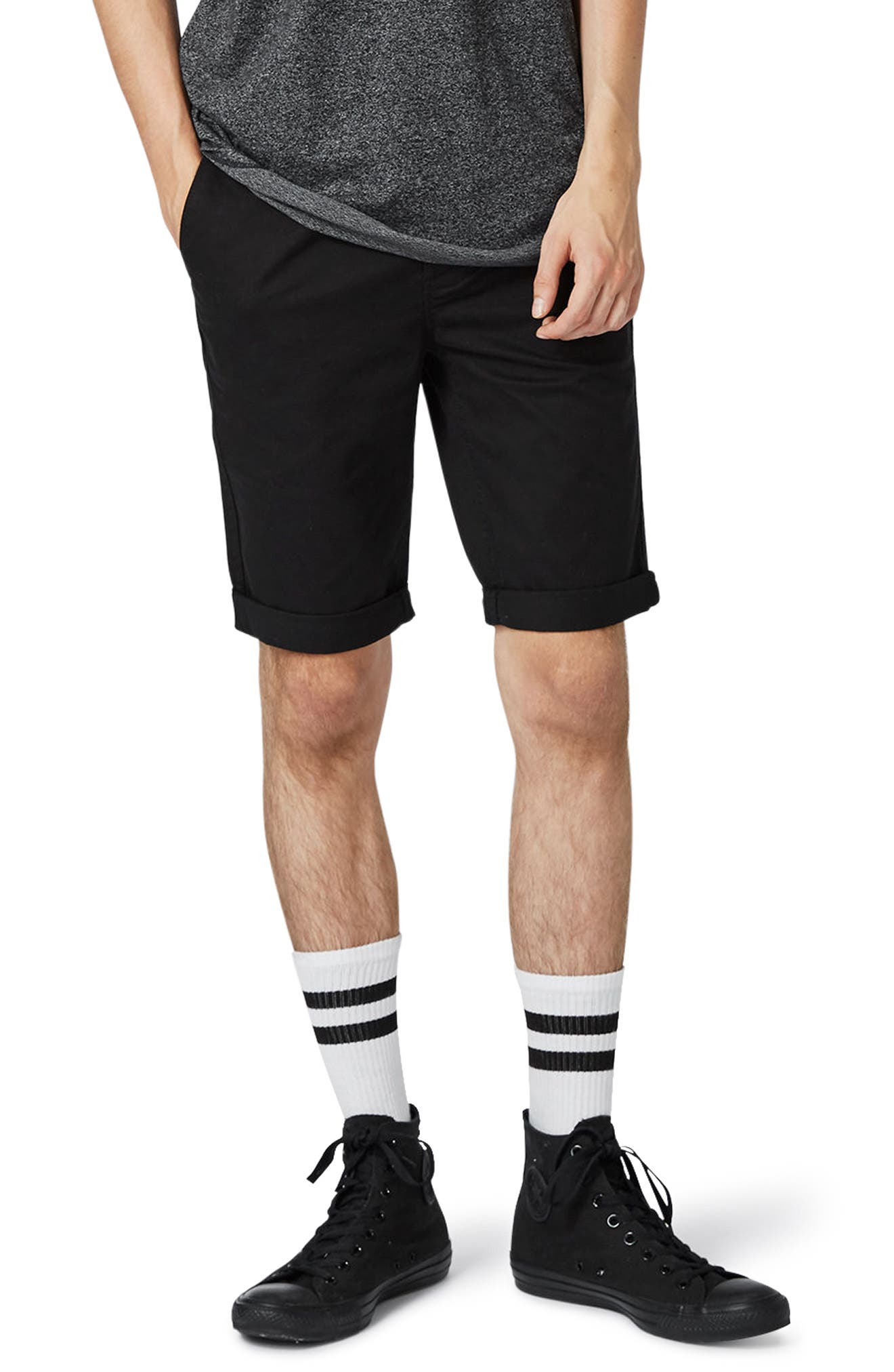 Main Image - Topman Stretch Skinny Fit Chino Shorts