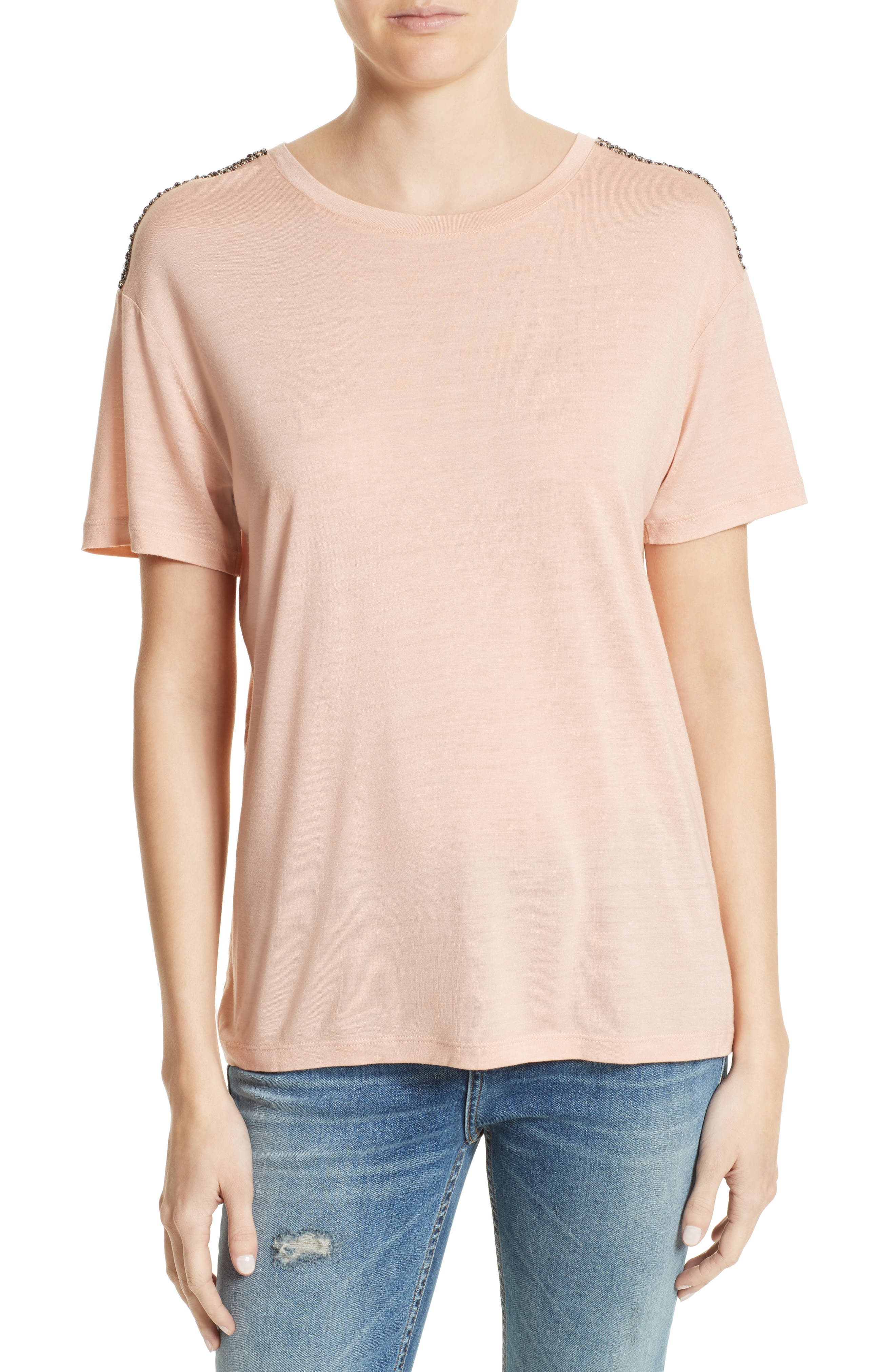 Beaded Tee,                         Main,                         color, Pink