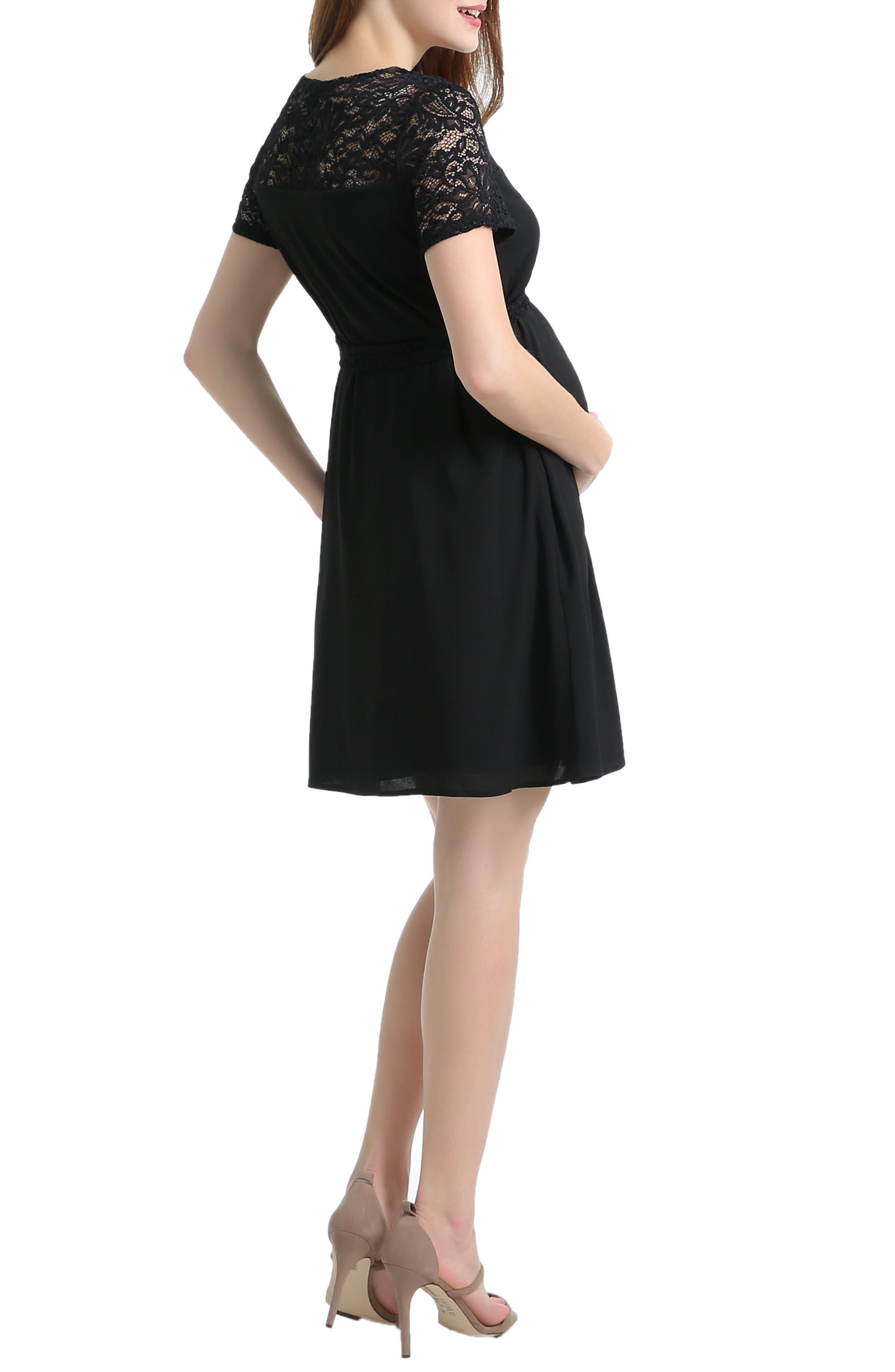 Alternate Image 2  - Kimi and Kai Misha Lace Trim Maternity Dress