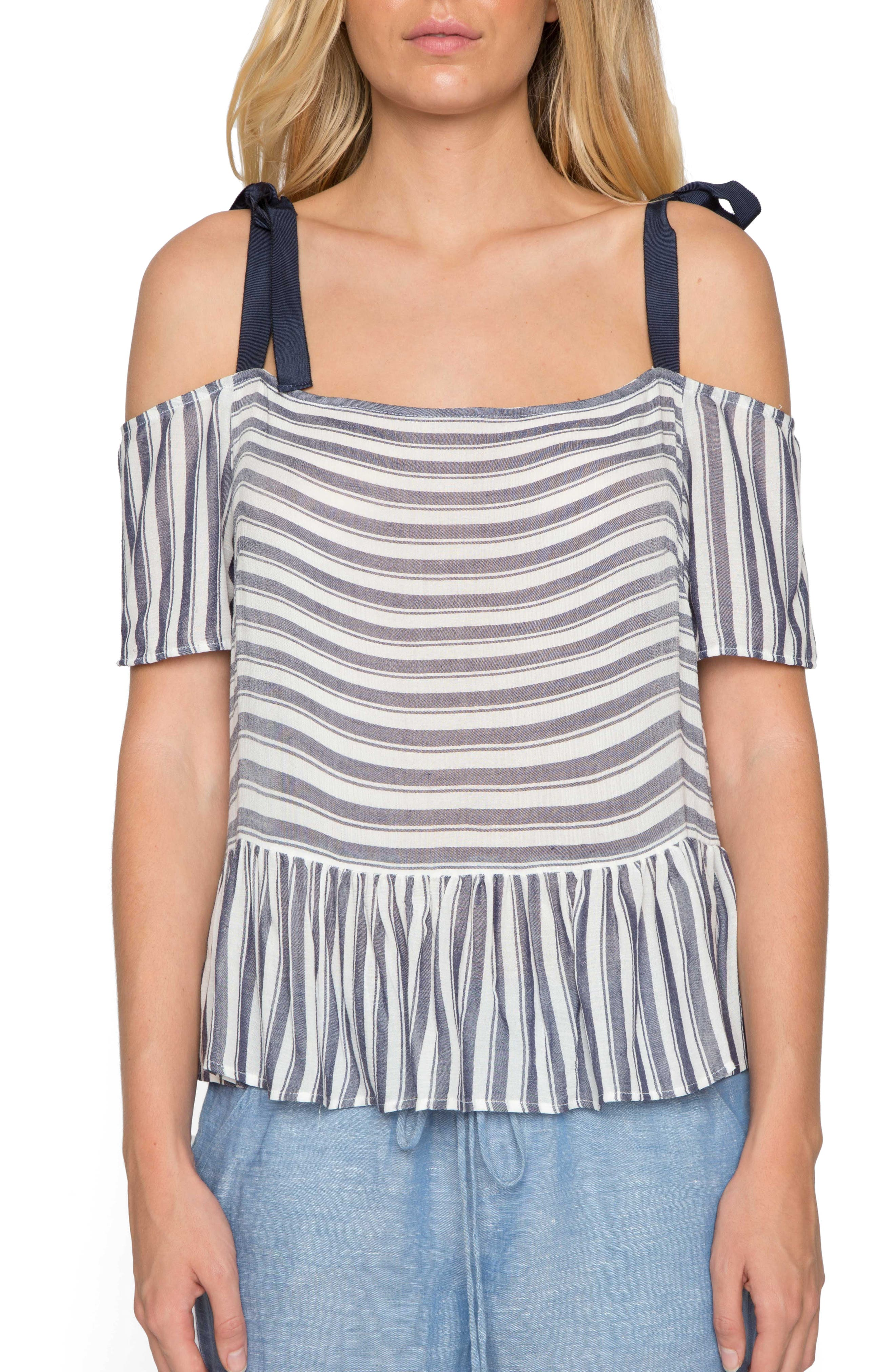Stripe Peplum Top,                         Main,                         color, Denim