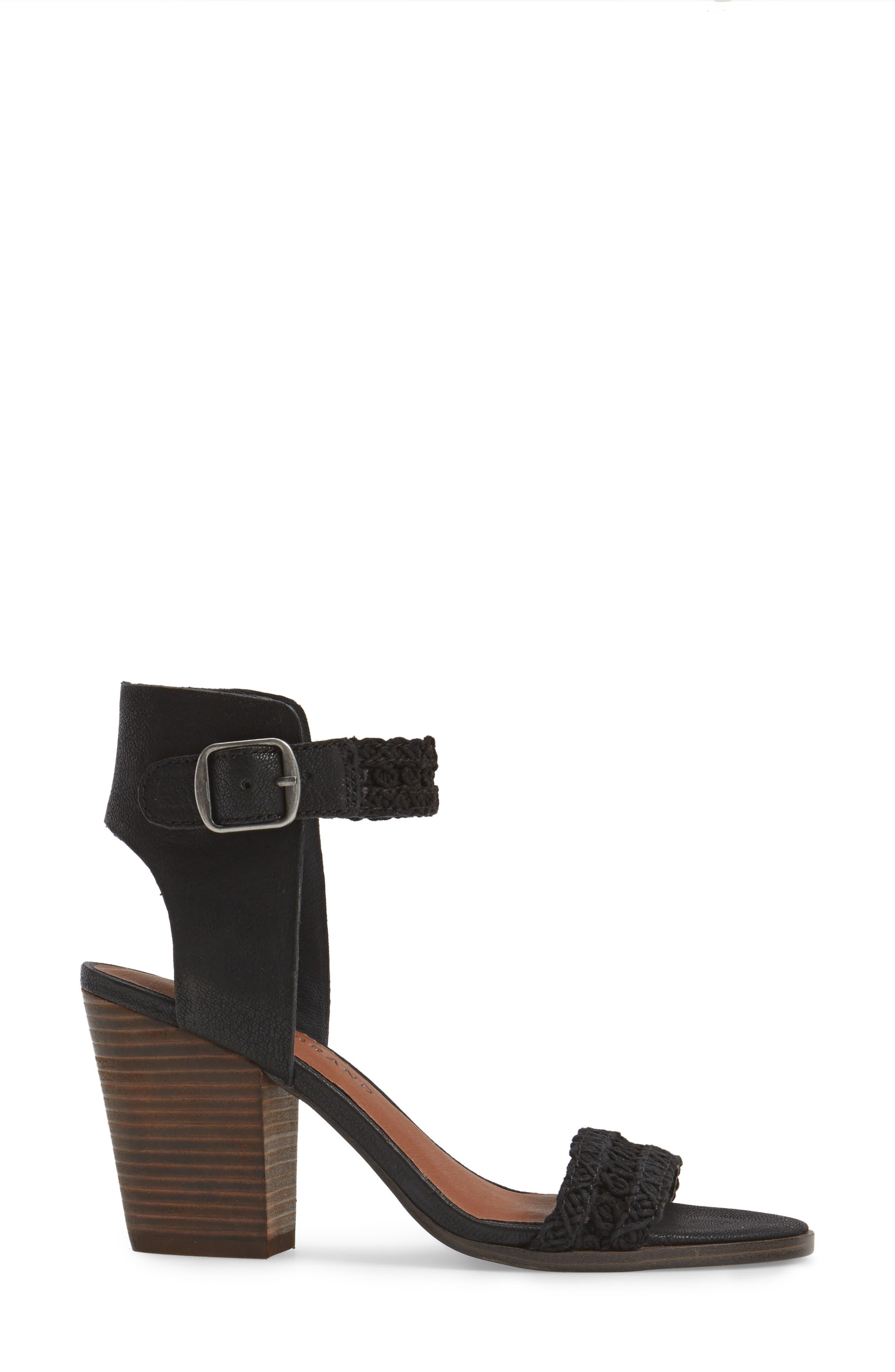 Oakes Ankle Strap Sandal,                             Alternate thumbnail 3, color,                             Black Leather