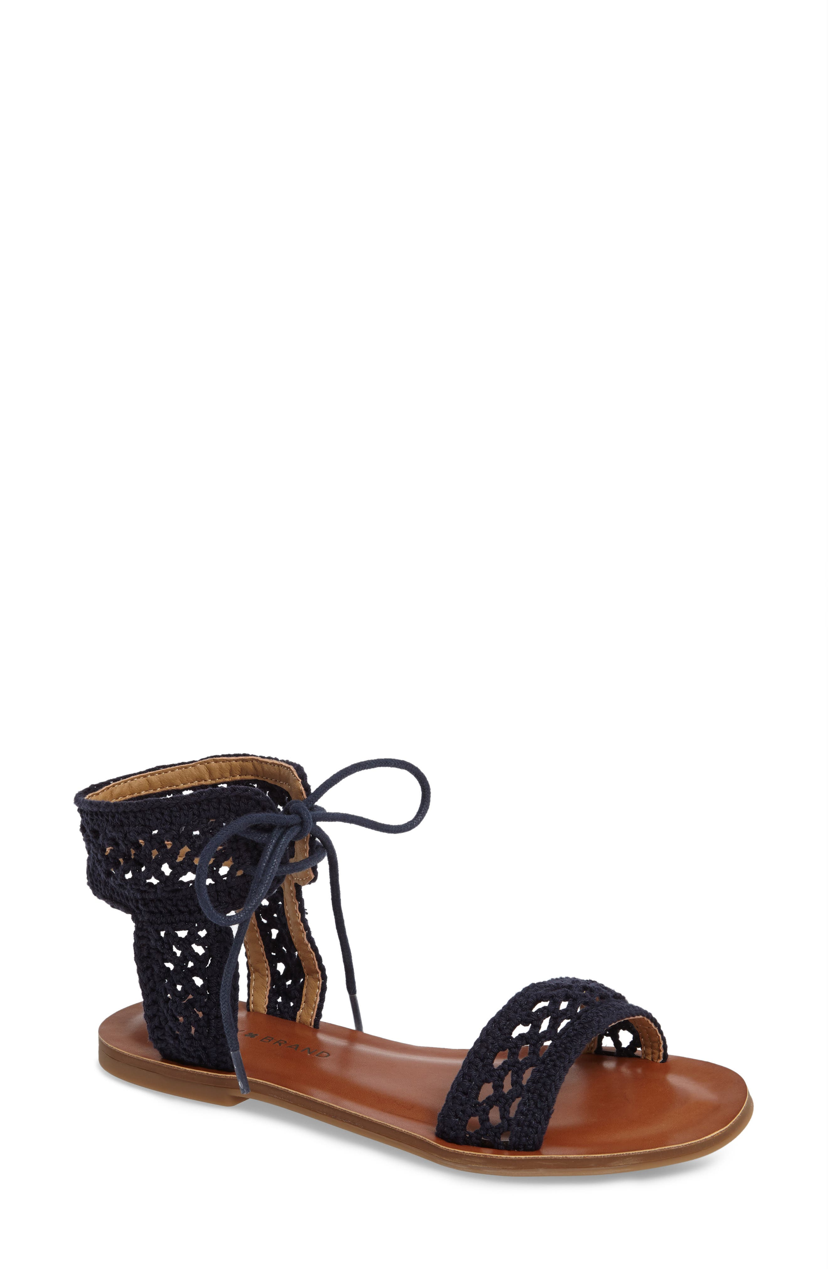 Ariah Ankle Tie Sandal,                             Main thumbnail 1, color,                             Moroccan Blue Fabric
