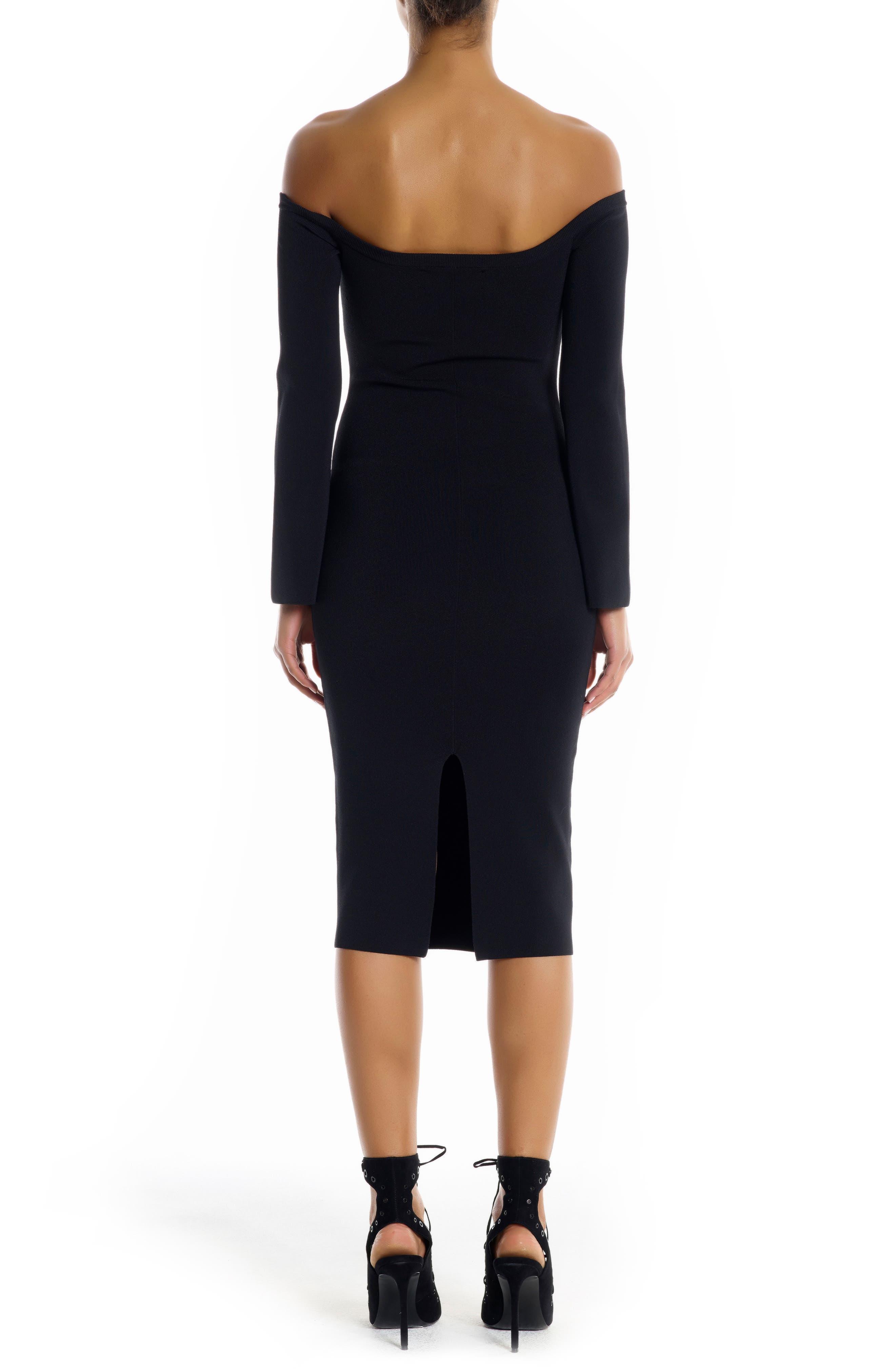 Off the Shoulder Body-Con Dress,                             Alternate thumbnail 2, color,                             Black