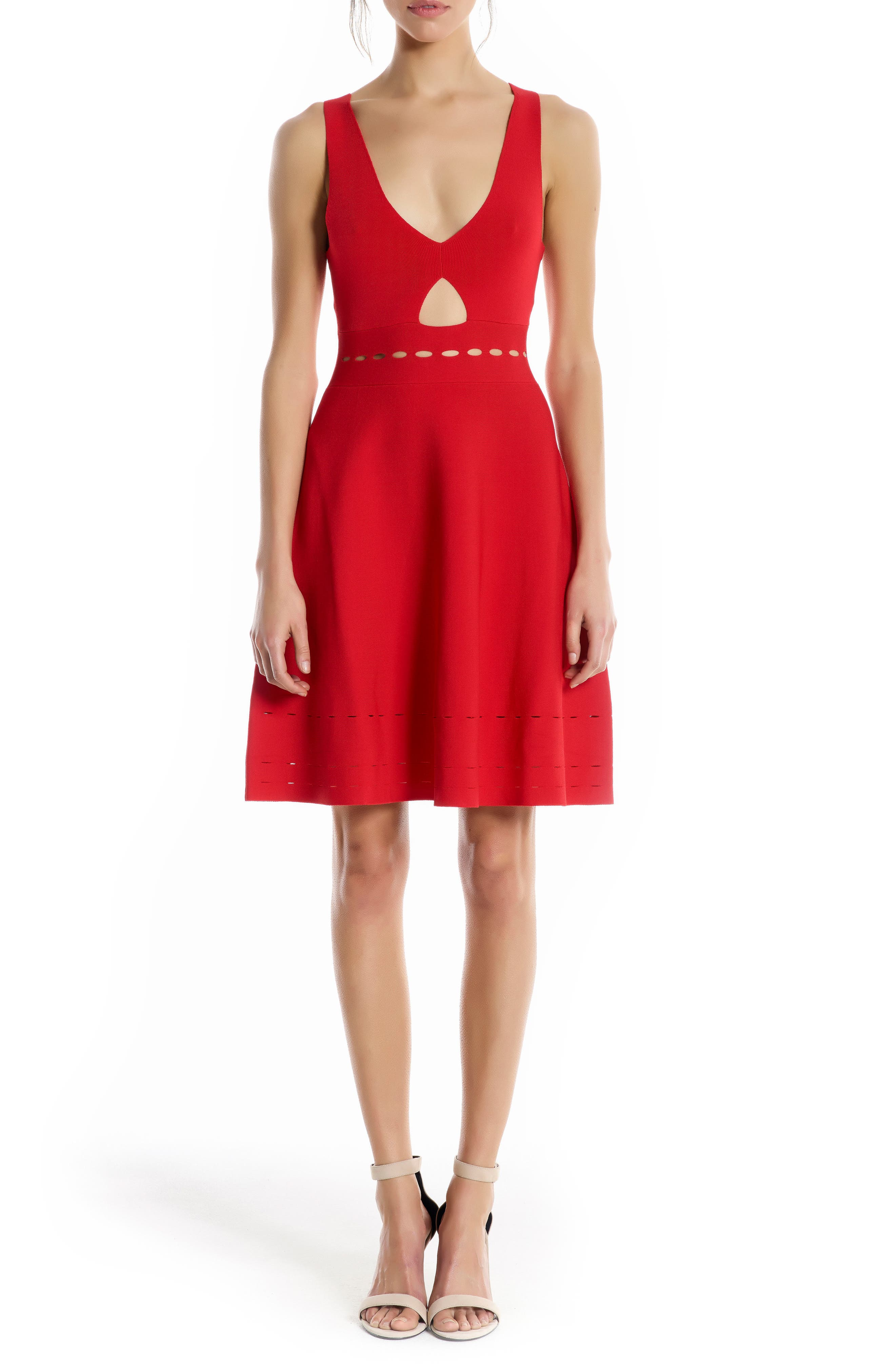 Pointelle Cutout Dress,                         Main,                         color, Bright Red