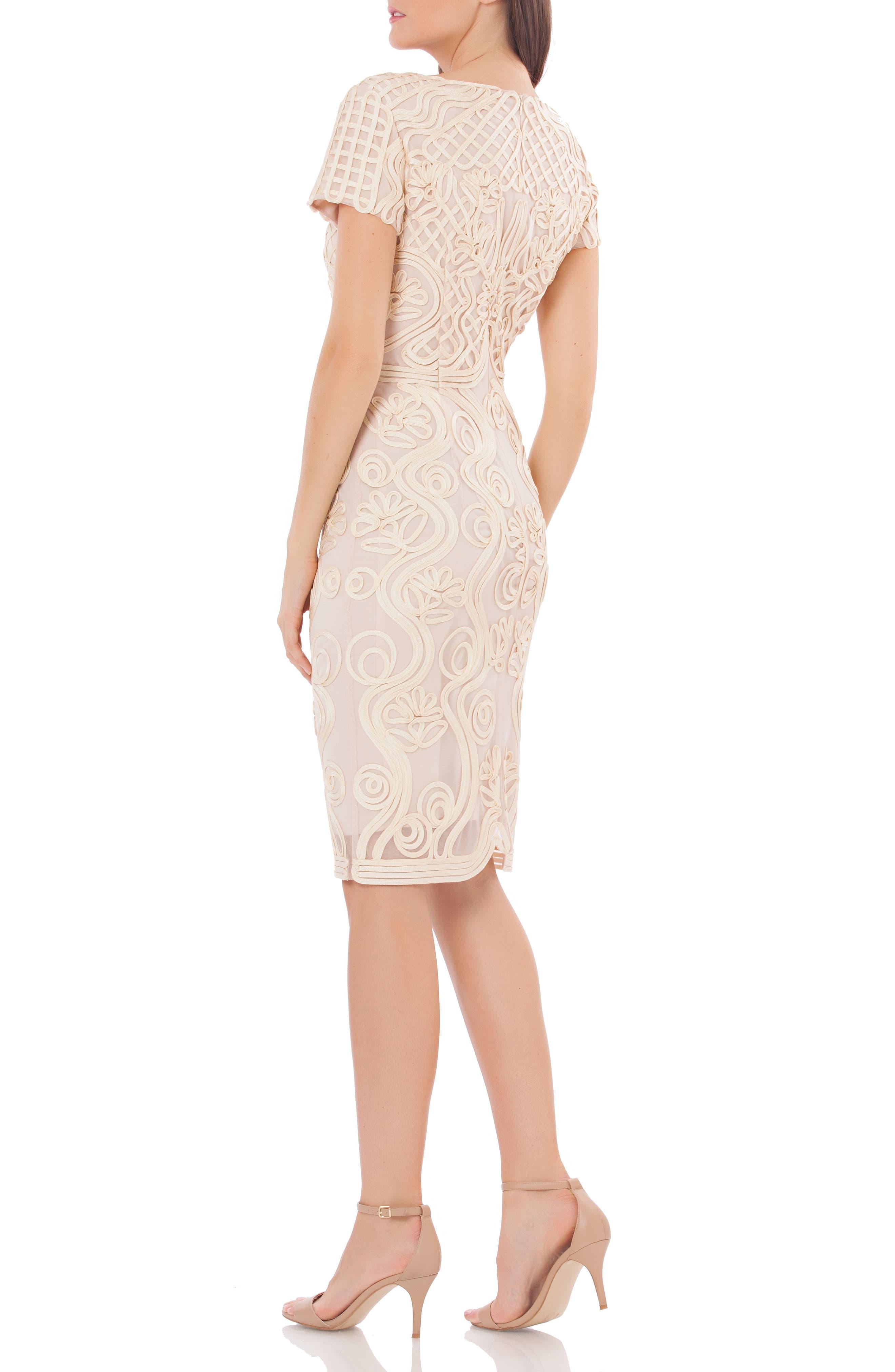 Alternate Image 2  - JS Collections Soutache Mesh Sheath Dress