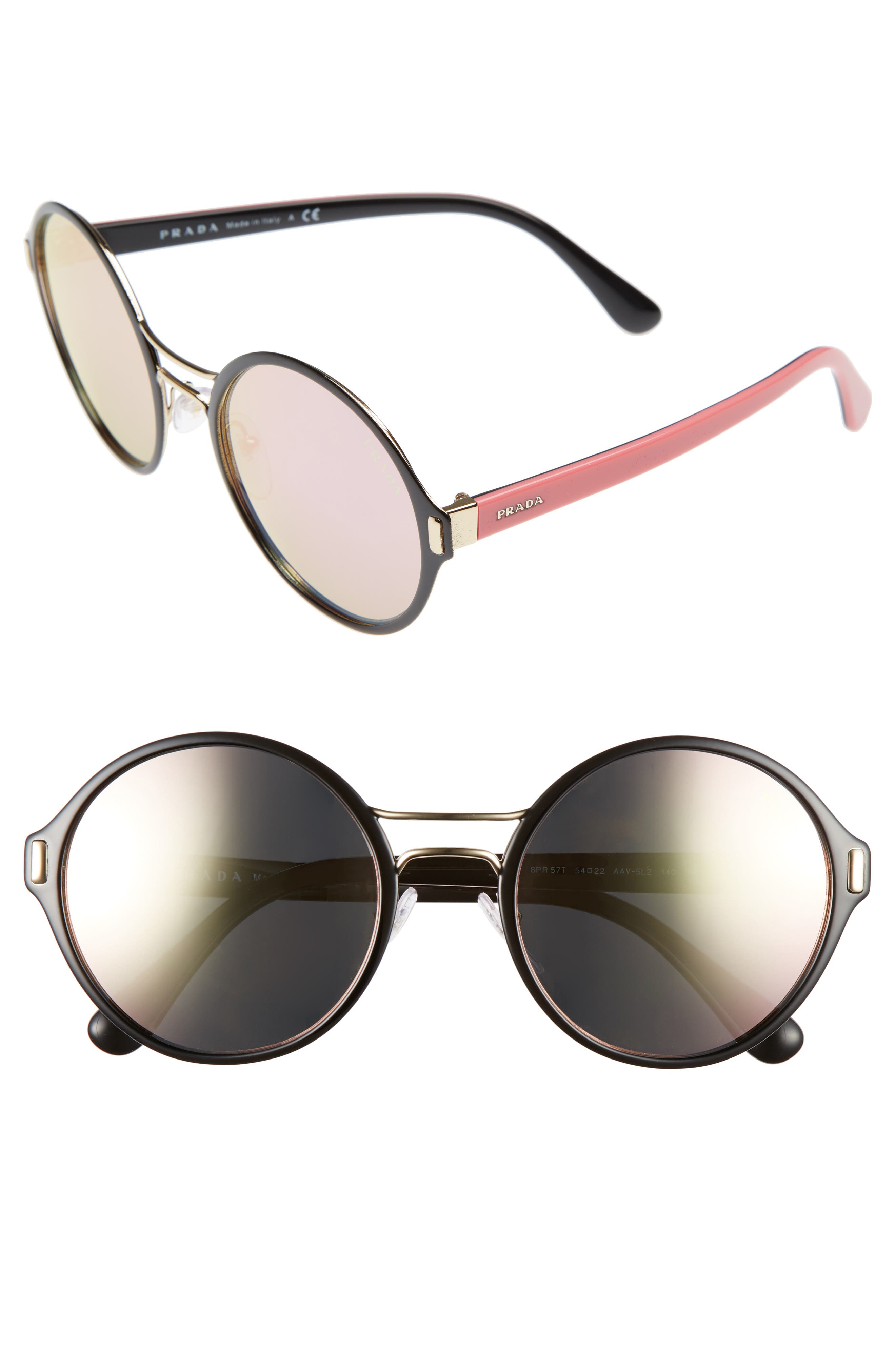 54mm Mirrored Round Sunglasses,                             Main thumbnail 1, color,                             Gold/ Black