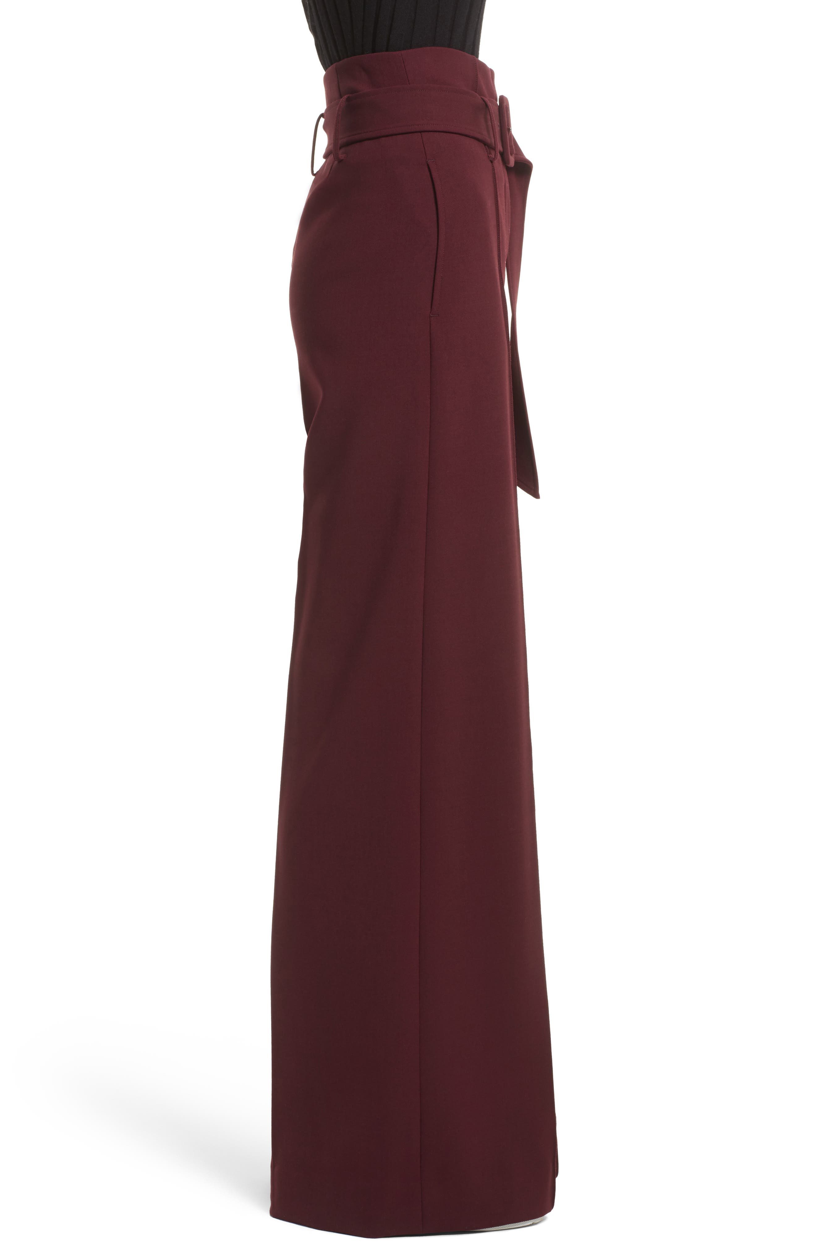 Camogie High Waist Belted Pants,                             Alternate thumbnail 3, color,                             Dark Currant