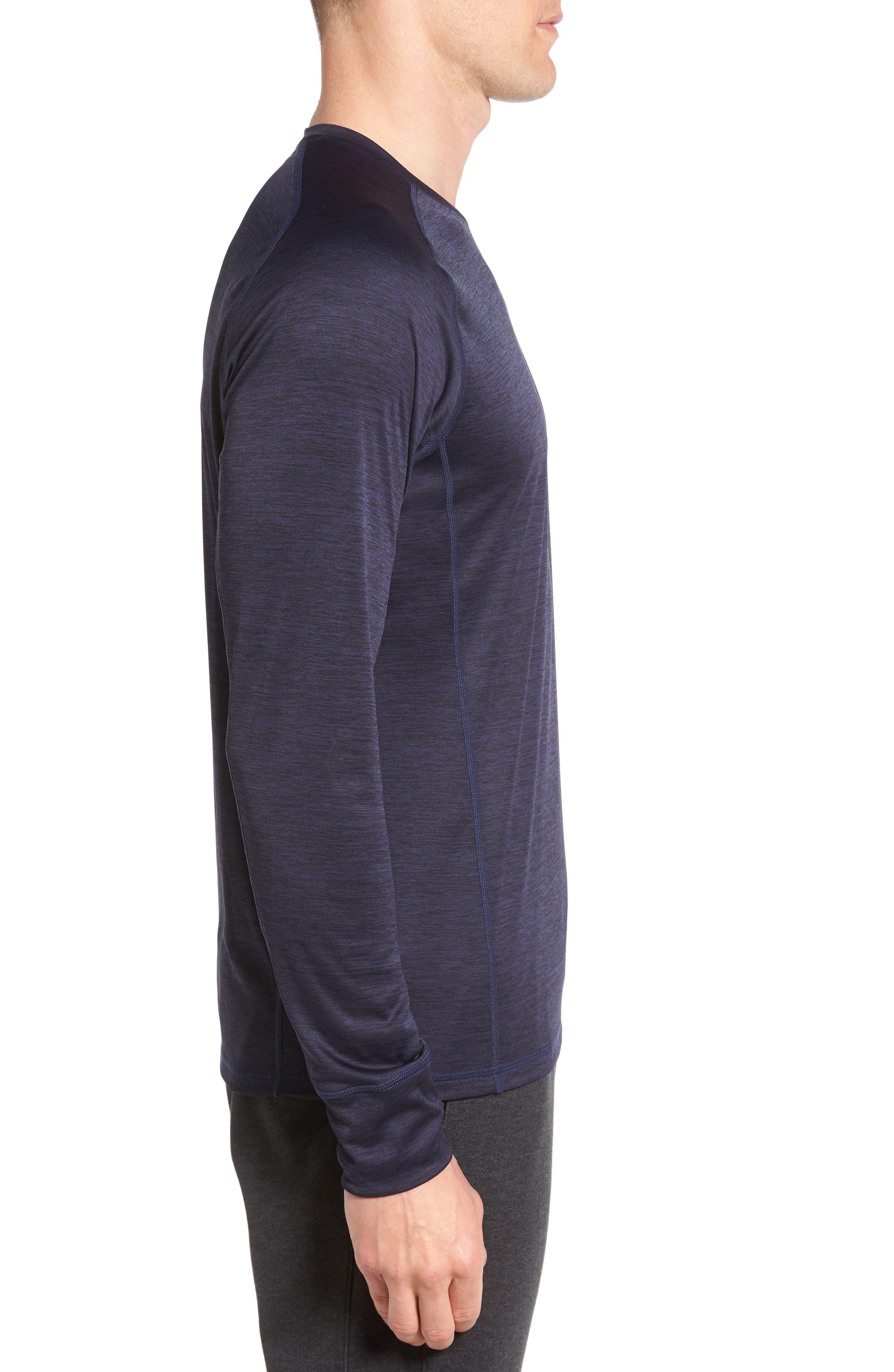 Triplite Long Sleeve T-Shirt,                             Alternate thumbnail 3, color,                             Navy Malachite Melange