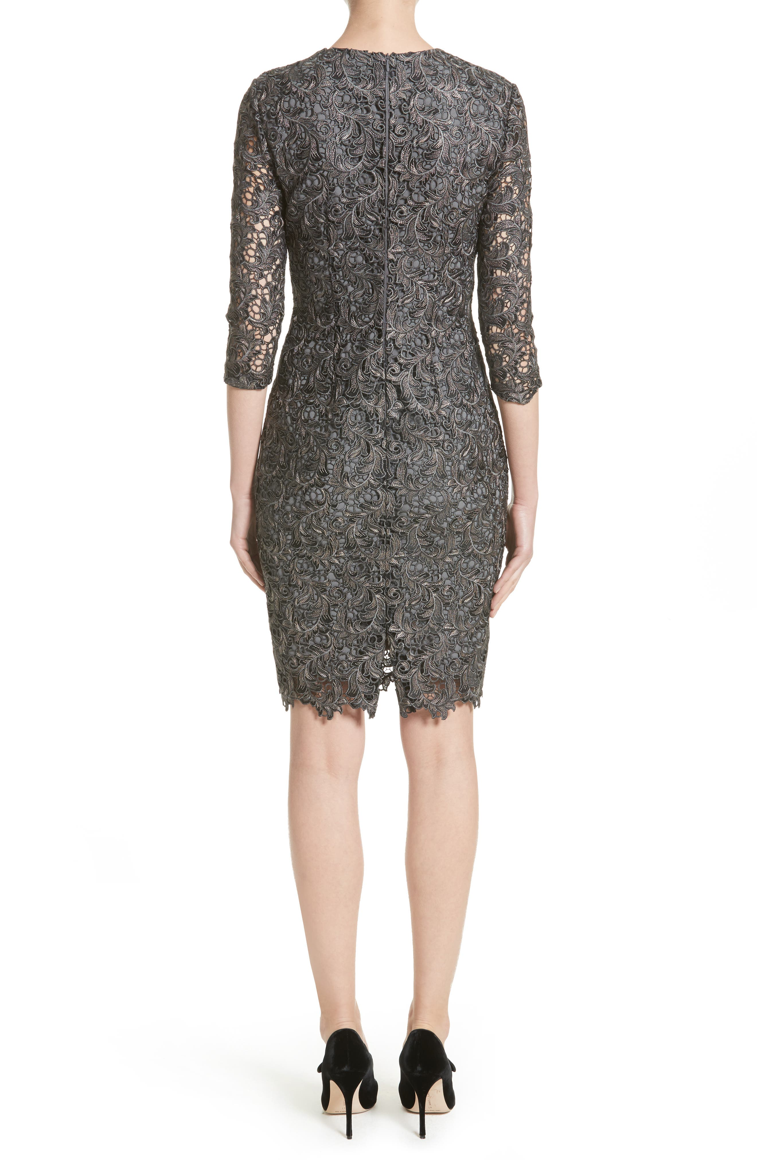 Plume Embroidered Lace Dress,                             Alternate thumbnail 2, color,                             Charcoal Multi