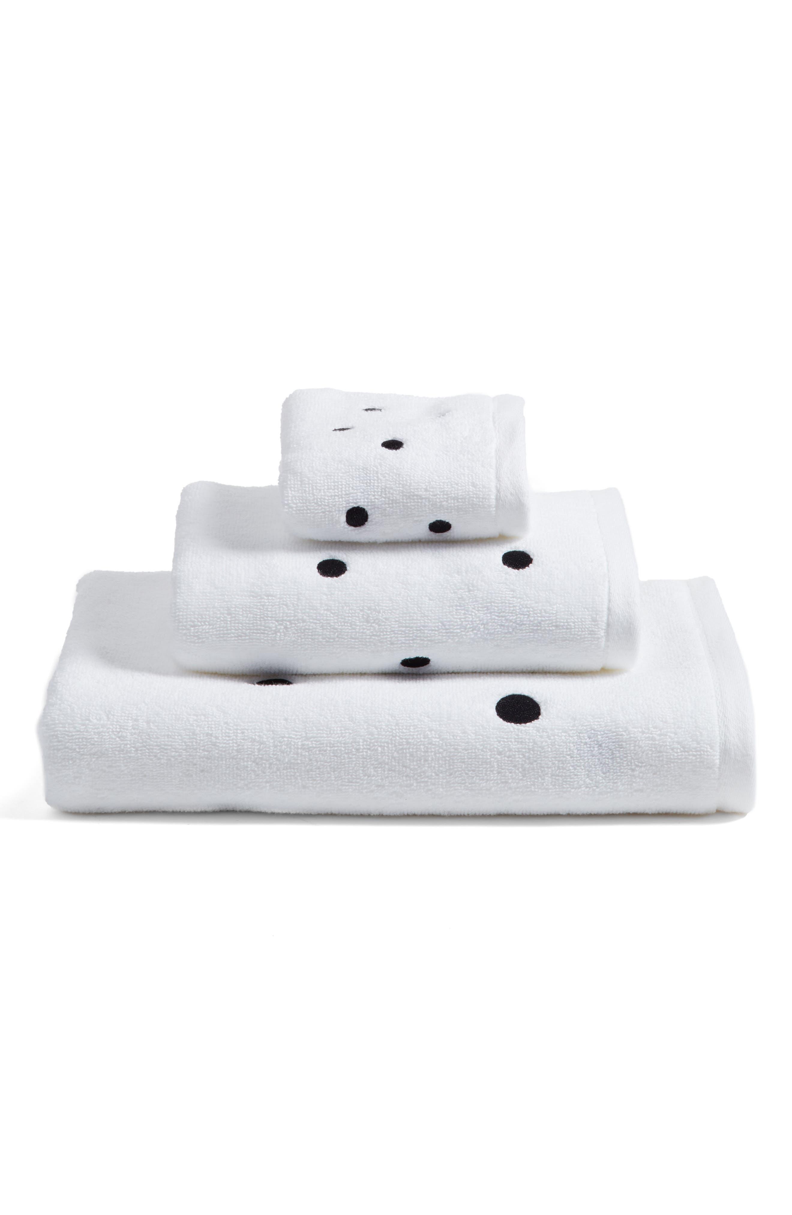 deco dot bath towel,                             Alternate thumbnail 3, color,                             Black