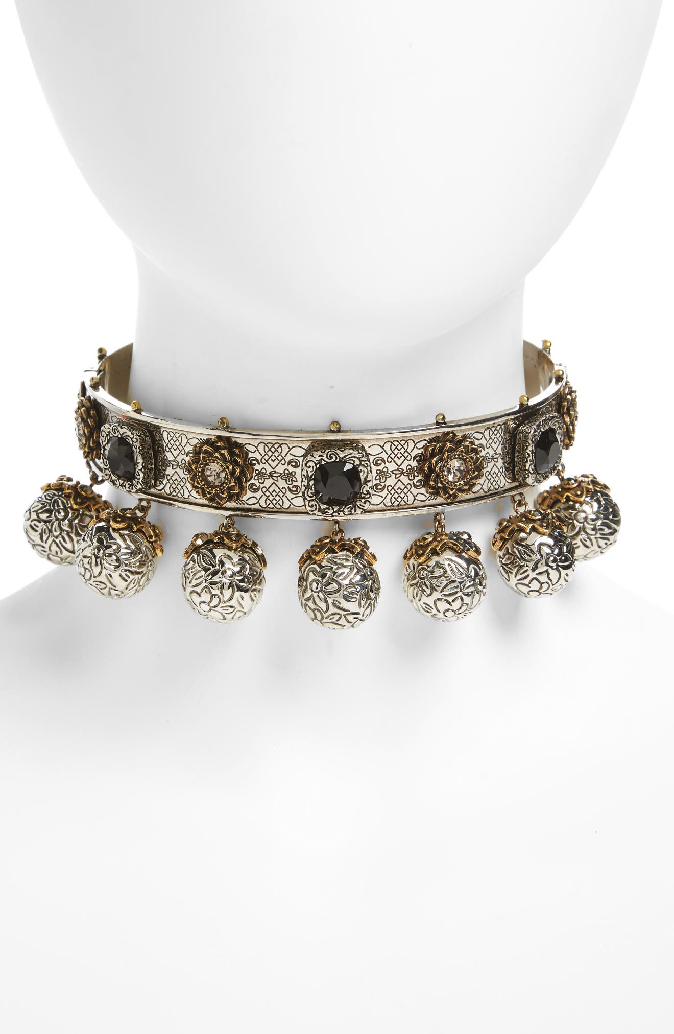Metallic Sphere Choker,                         Main,                         color, Silver