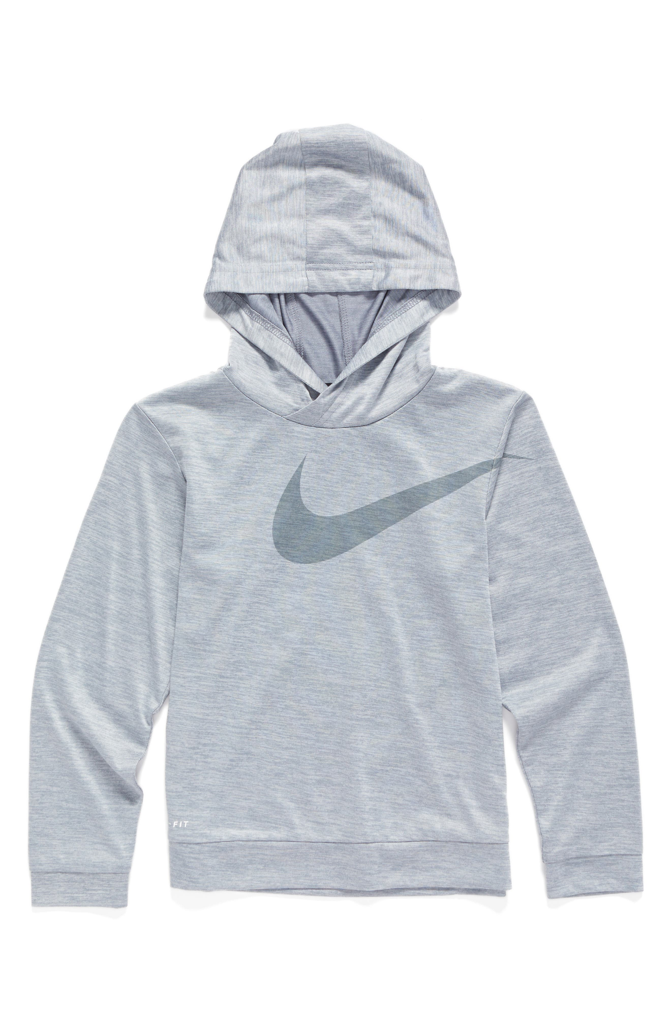 Alternate Image 1 Selected - Nike Swoosh Dri-FIT Hoodie (Toddler Boys & Little Boys)