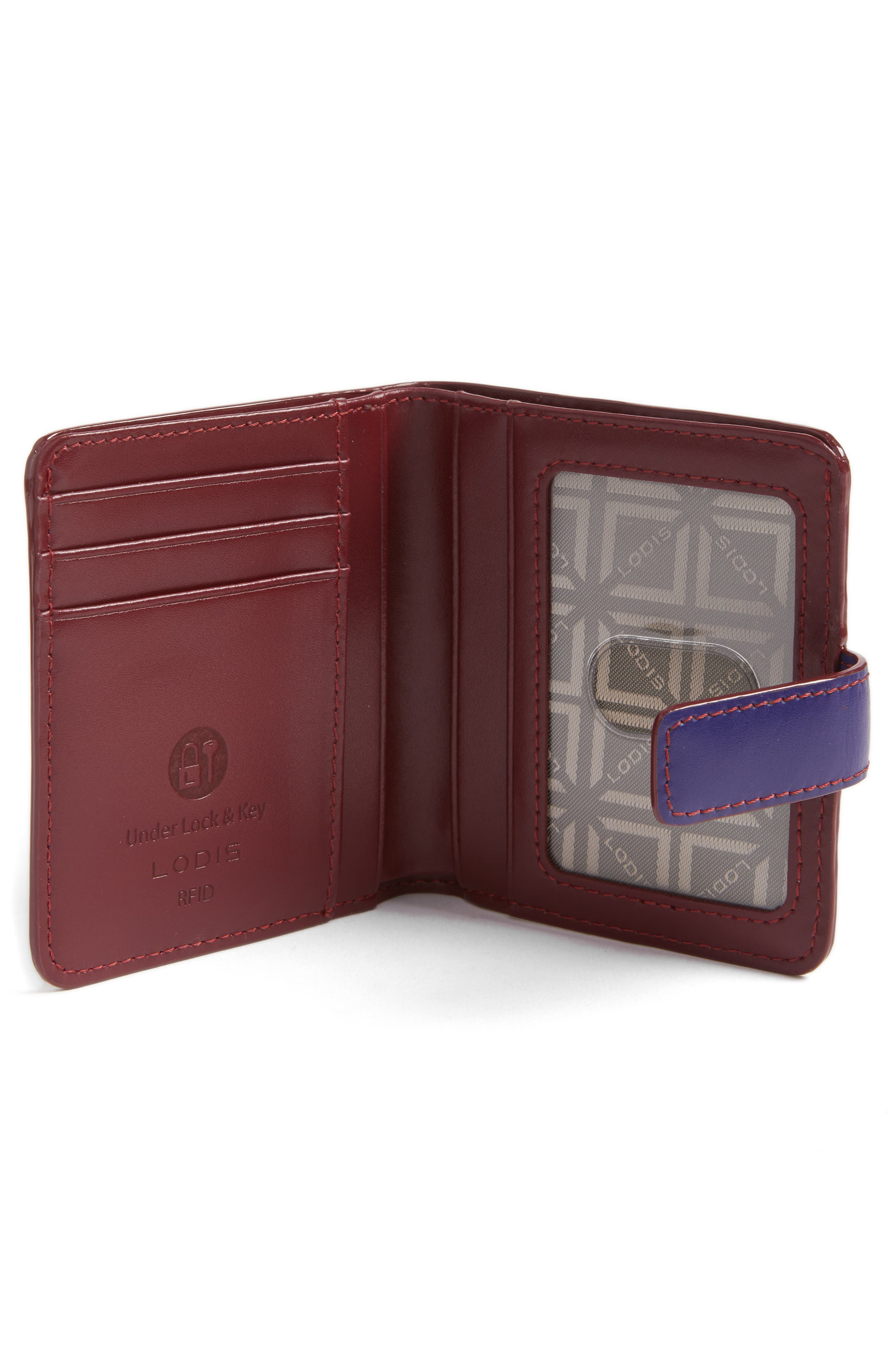 Lodis Petite Audrey RFID Leather Wallet,                             Alternate thumbnail 2, color,                             Midnight/ Chianti