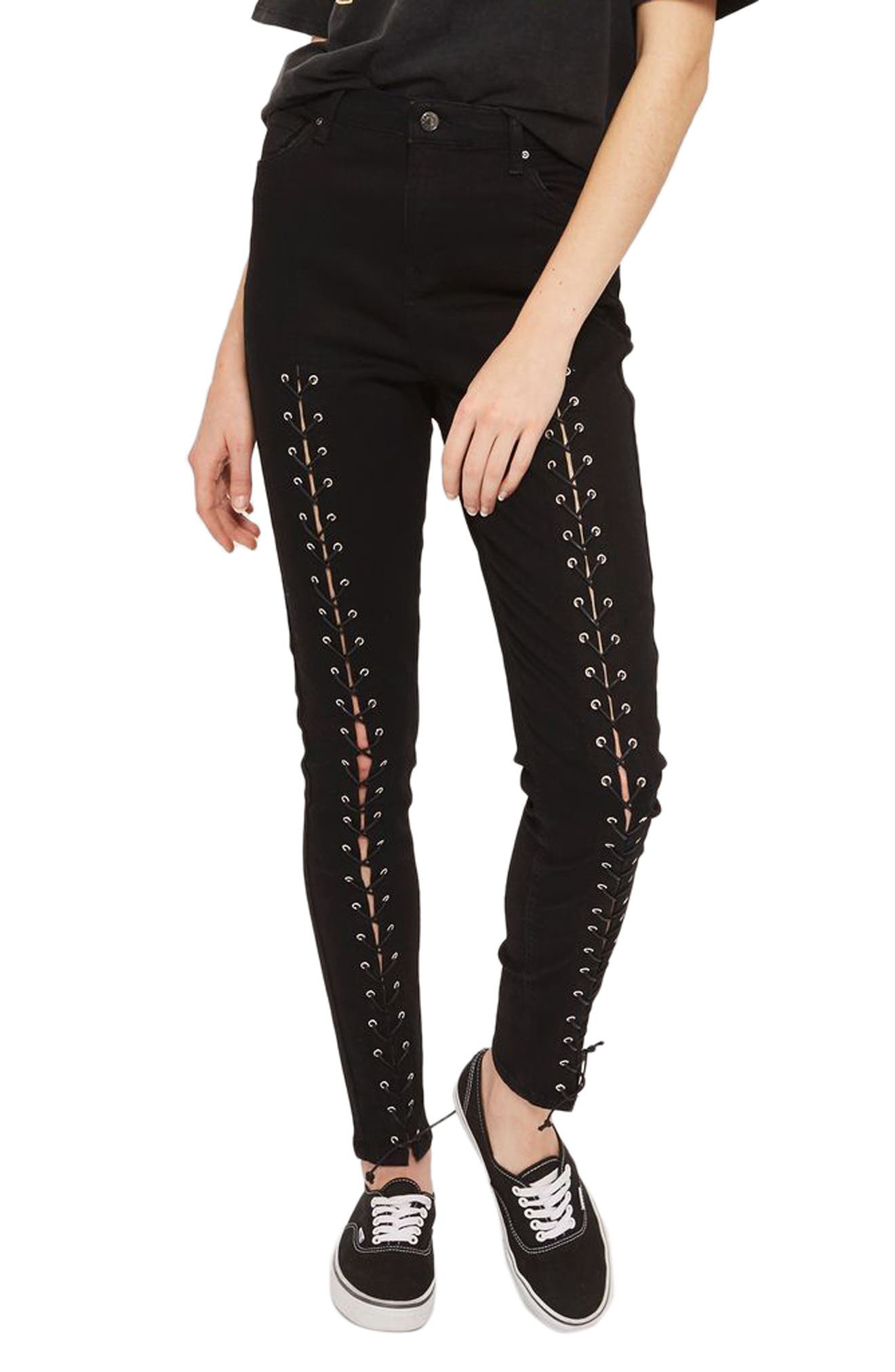 Jamie Front Laced Skinny Jeans,                         Main,                         color, Black
