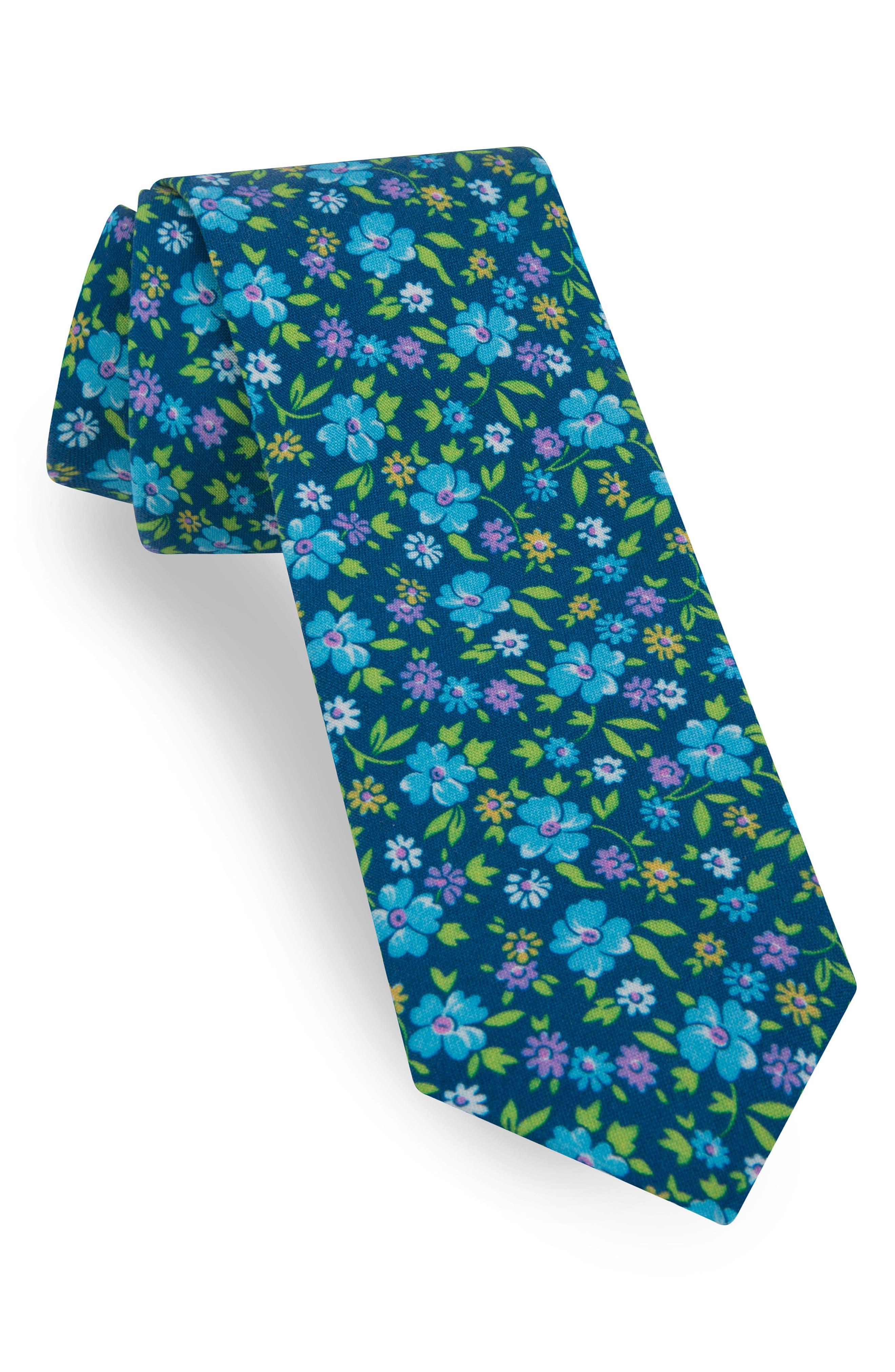 Alternate Image 1 Selected - Ted Baker London Floral Skinny Silk Tie