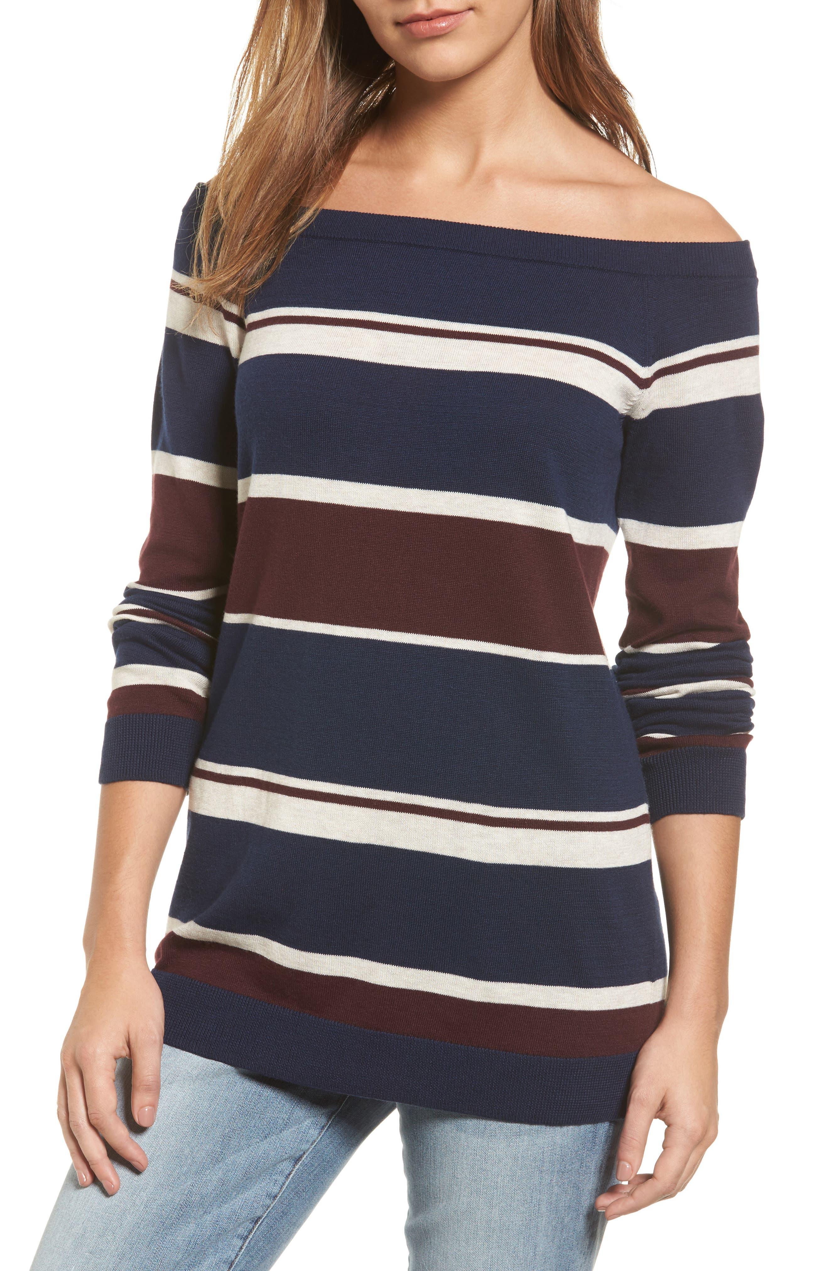 Halogen® Cotton Blend Off the Shoulder Sweater (Regular & Petite)