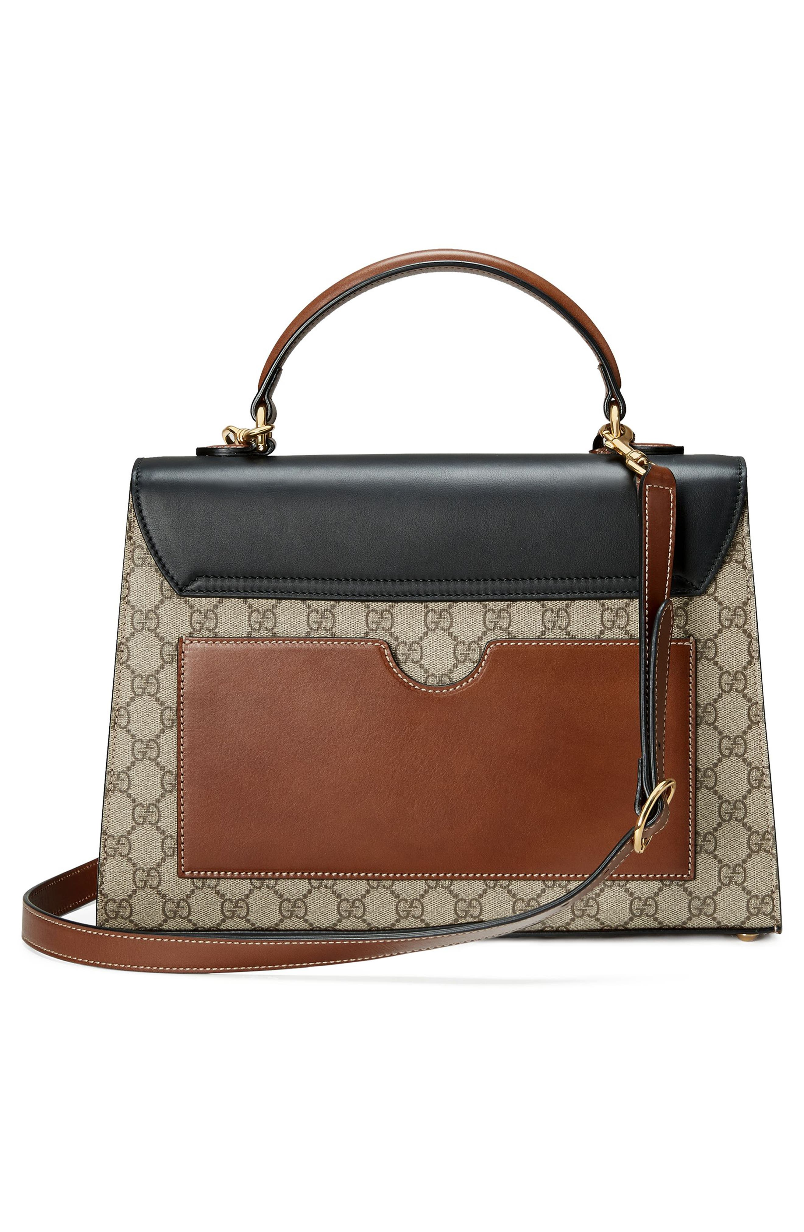 Medium Padlock Top Handle GG Supreme Canvas & Leather Bag,                             Alternate thumbnail 2, color,                             Beige Ebony/Nero/Cuir