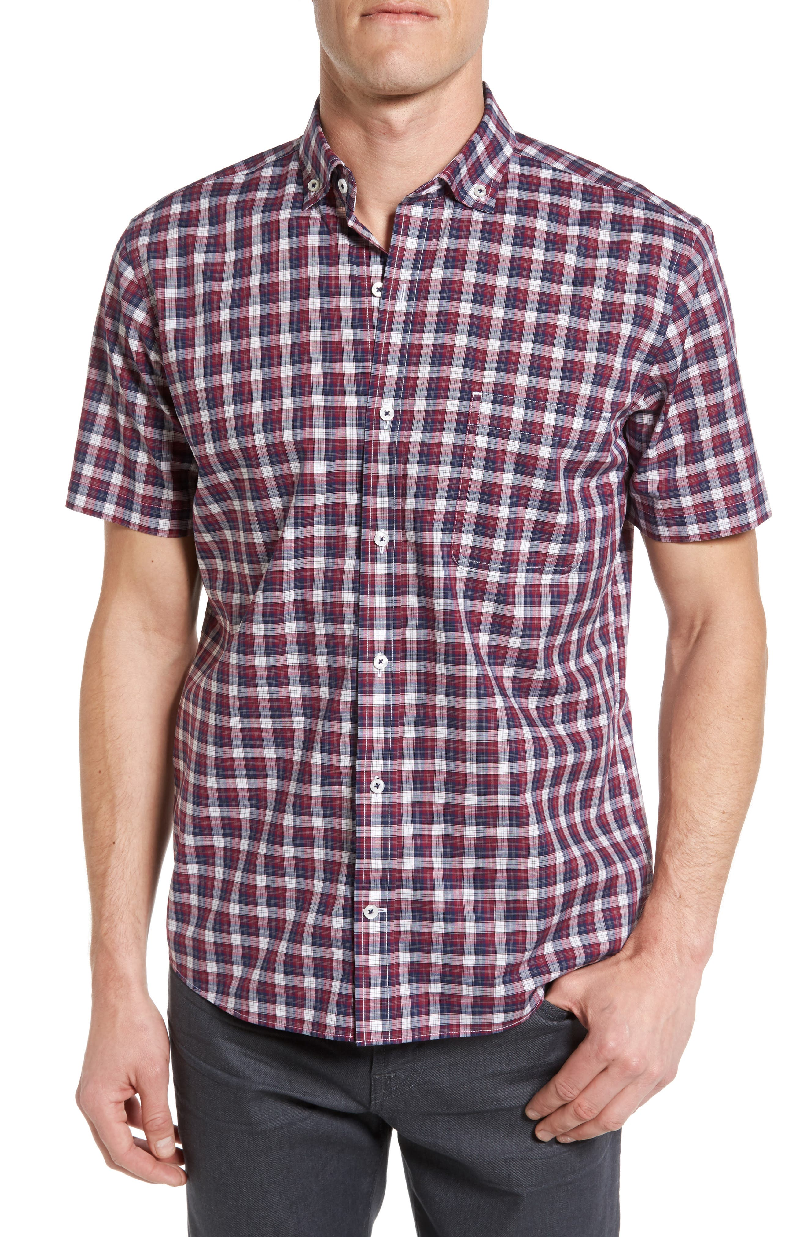 Maker & Company Tailored Fit Plaid Sport Shirt