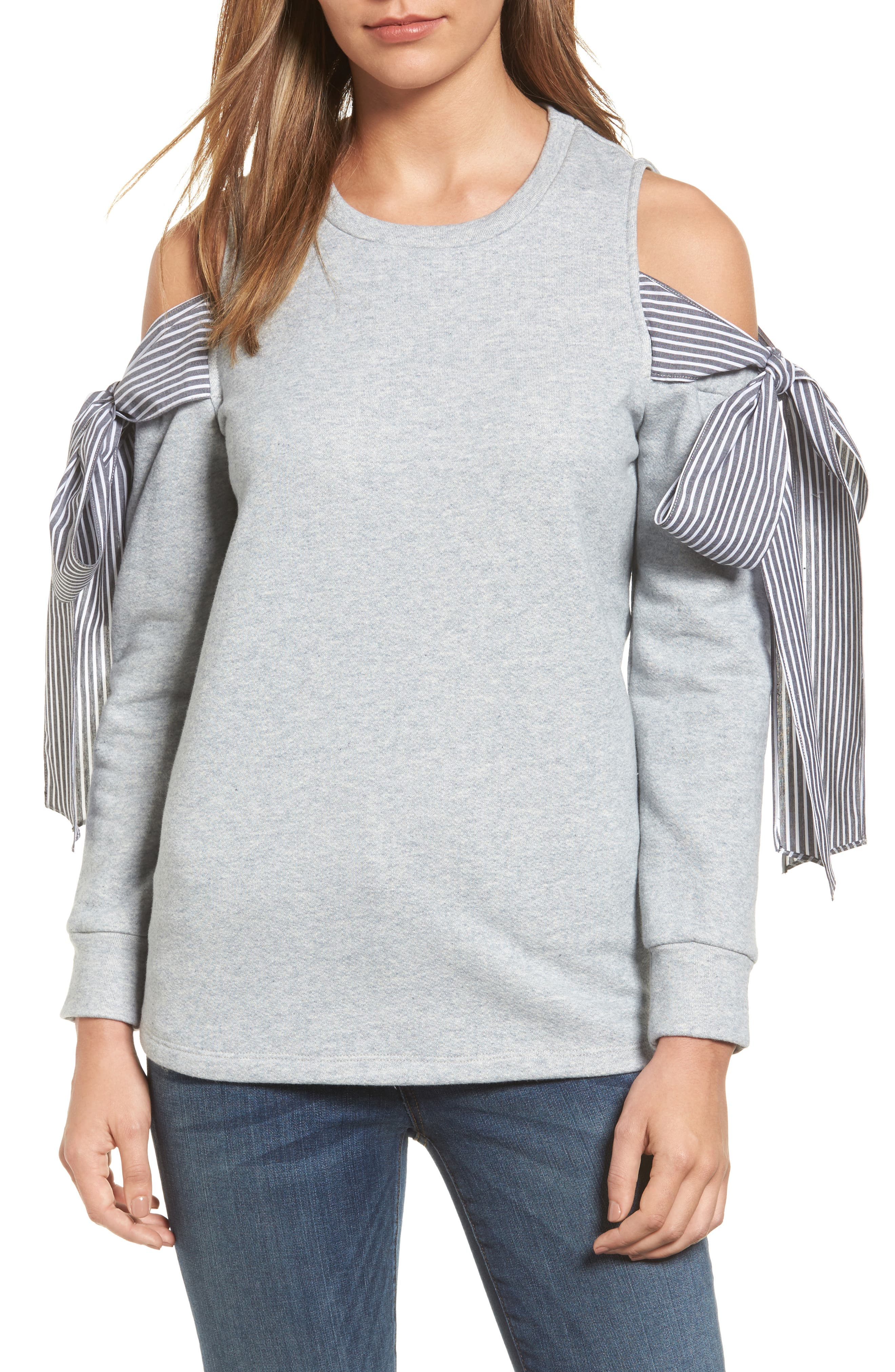 PLEIONE Cold Shoulder Tie Sleeve Sweatshirt