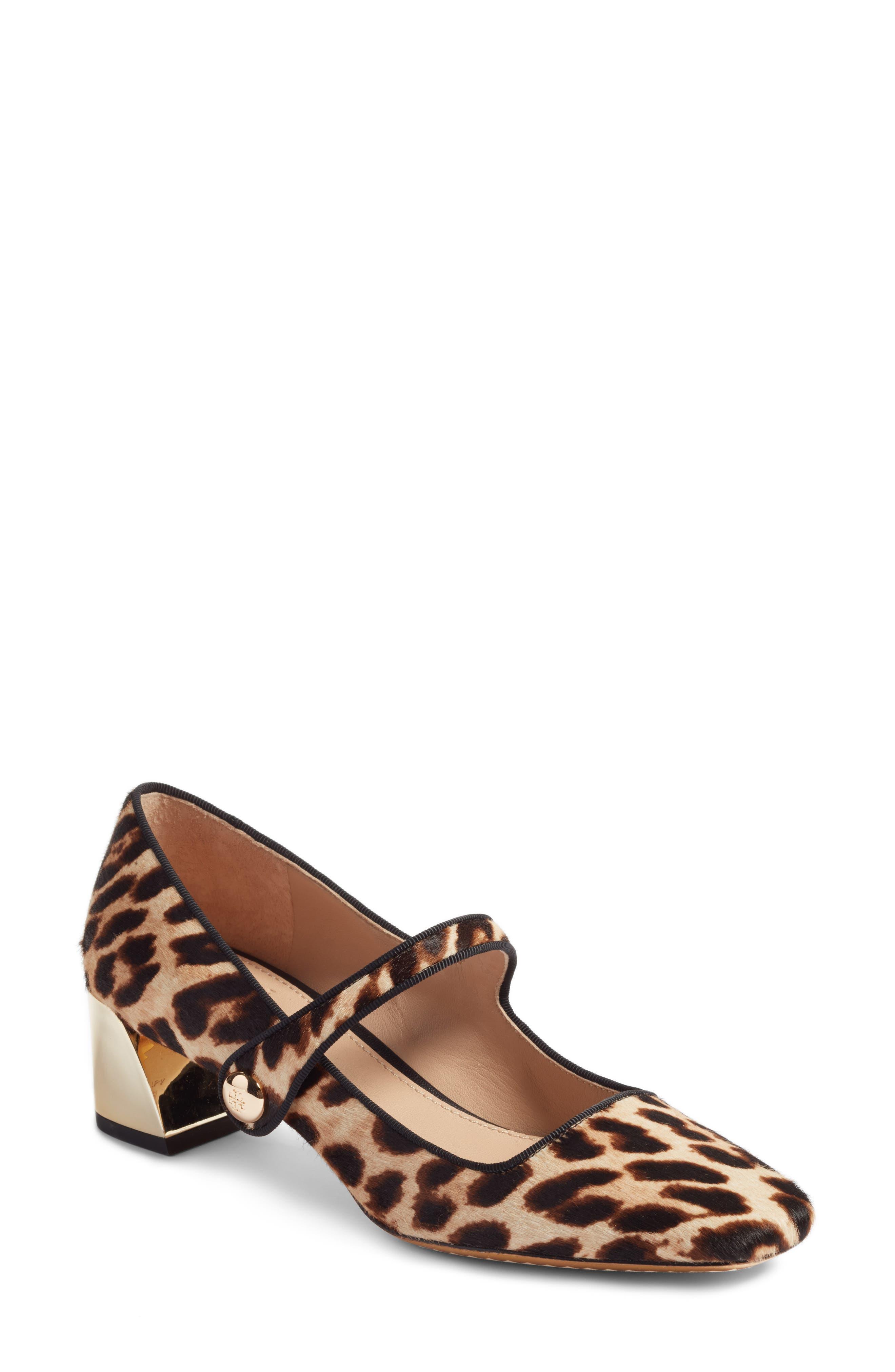 Marisa Genuine Calf Hair Mary Jane Pump,                             Main thumbnail 1, color,                             Natural Leopard/ Black