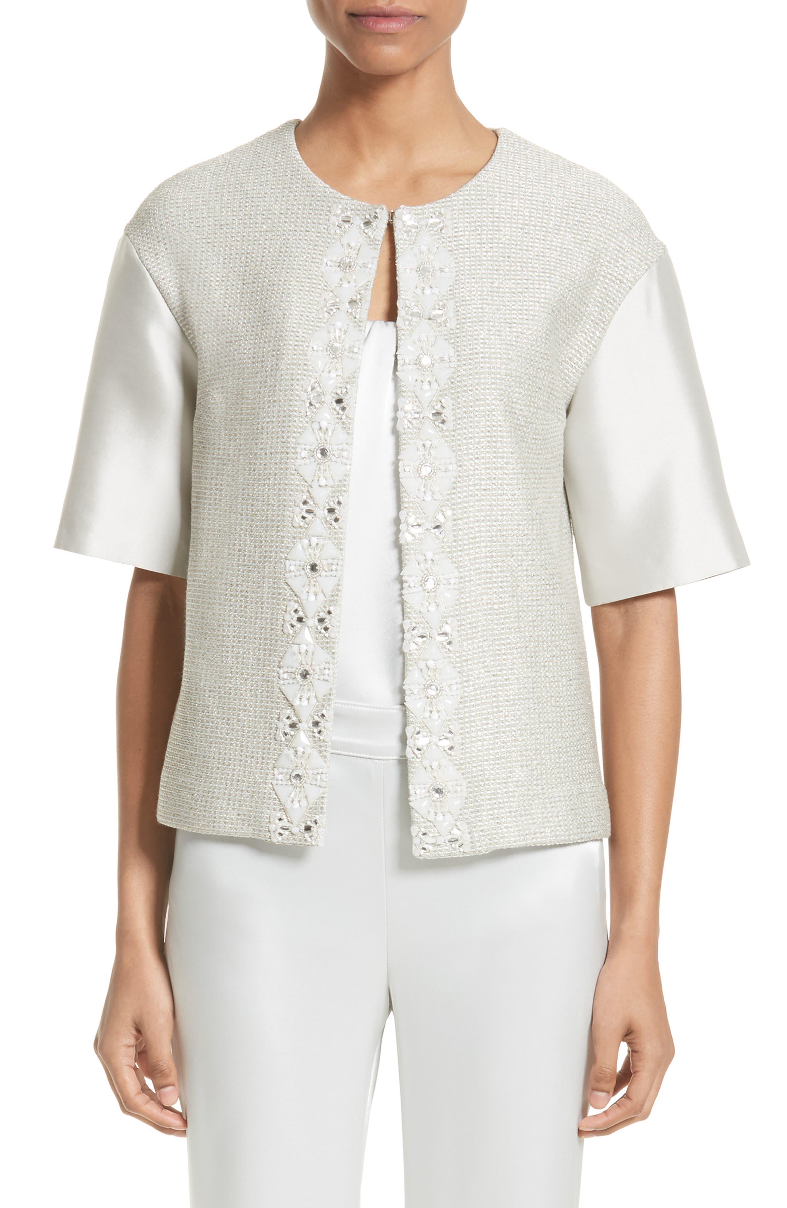 Beaded Jasmine Sparkle Knit Jacket,                         Main,                         color, Pale Jasmine