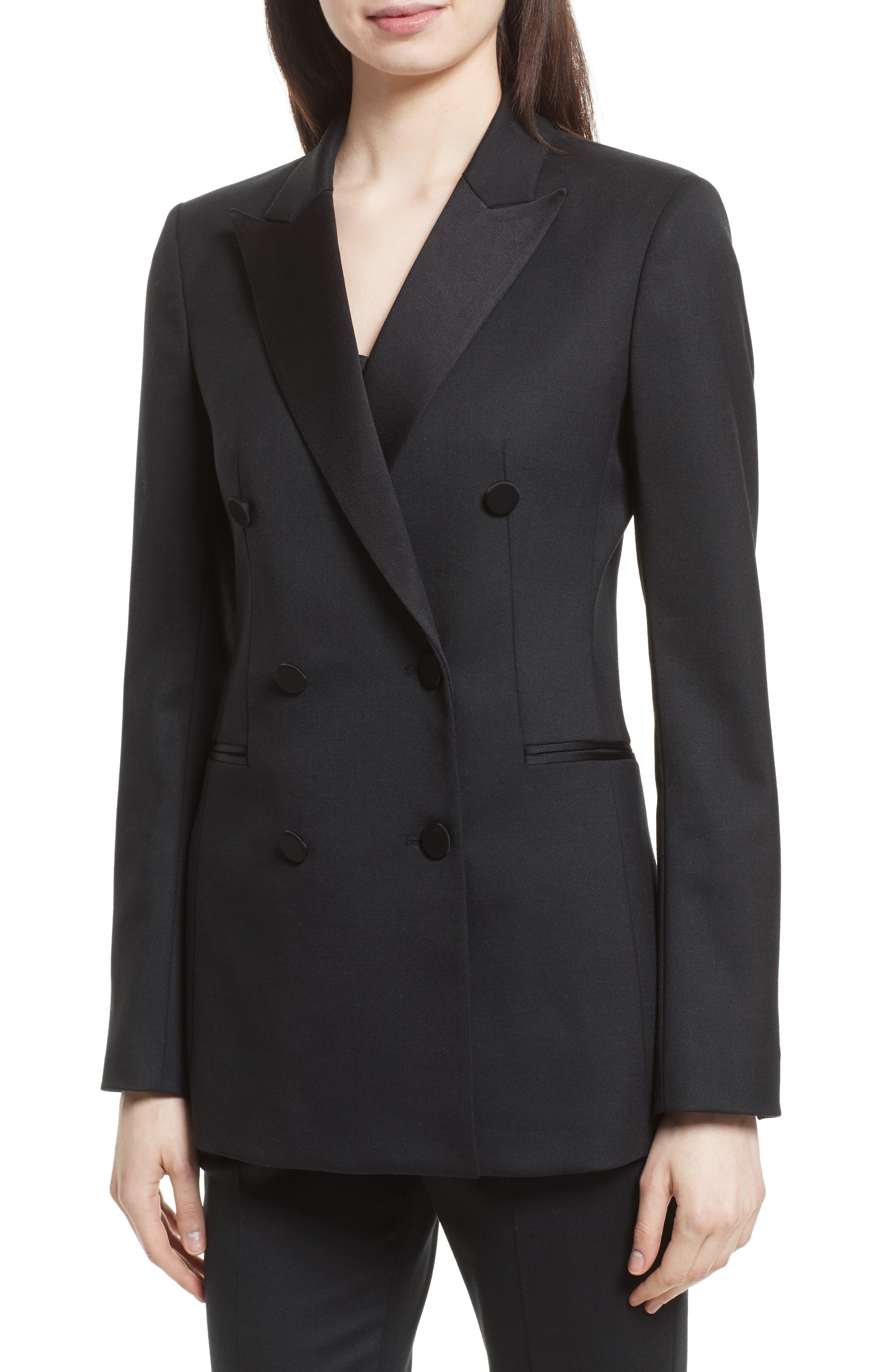 Wool Blend Tuxedo Jacket,                             Alternate thumbnail 4, color,                             Black