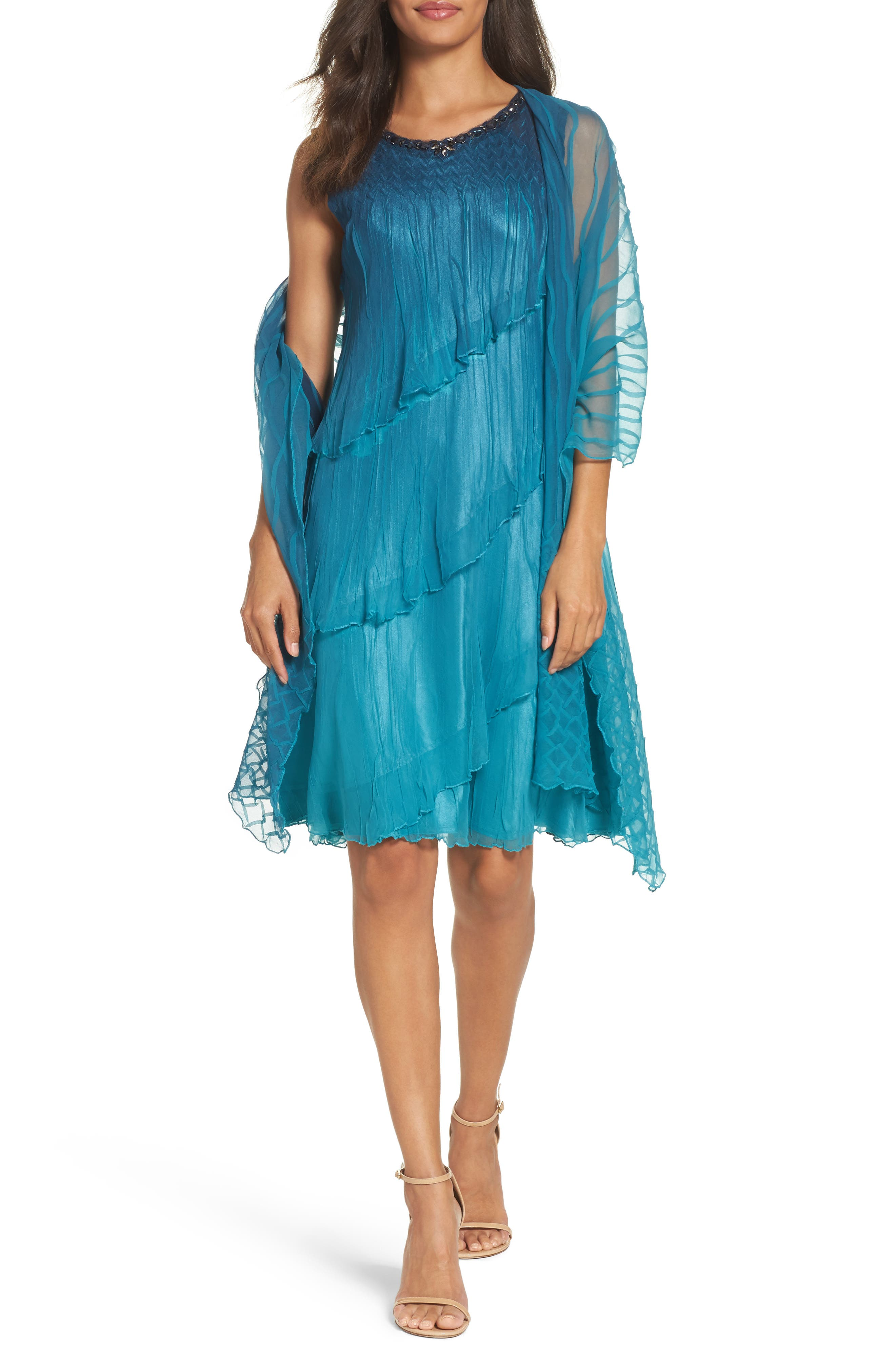 Tiered Chiffon Shift Dress with Shawl,                             Alternate thumbnail 6, color,                             Marine Night Ombre