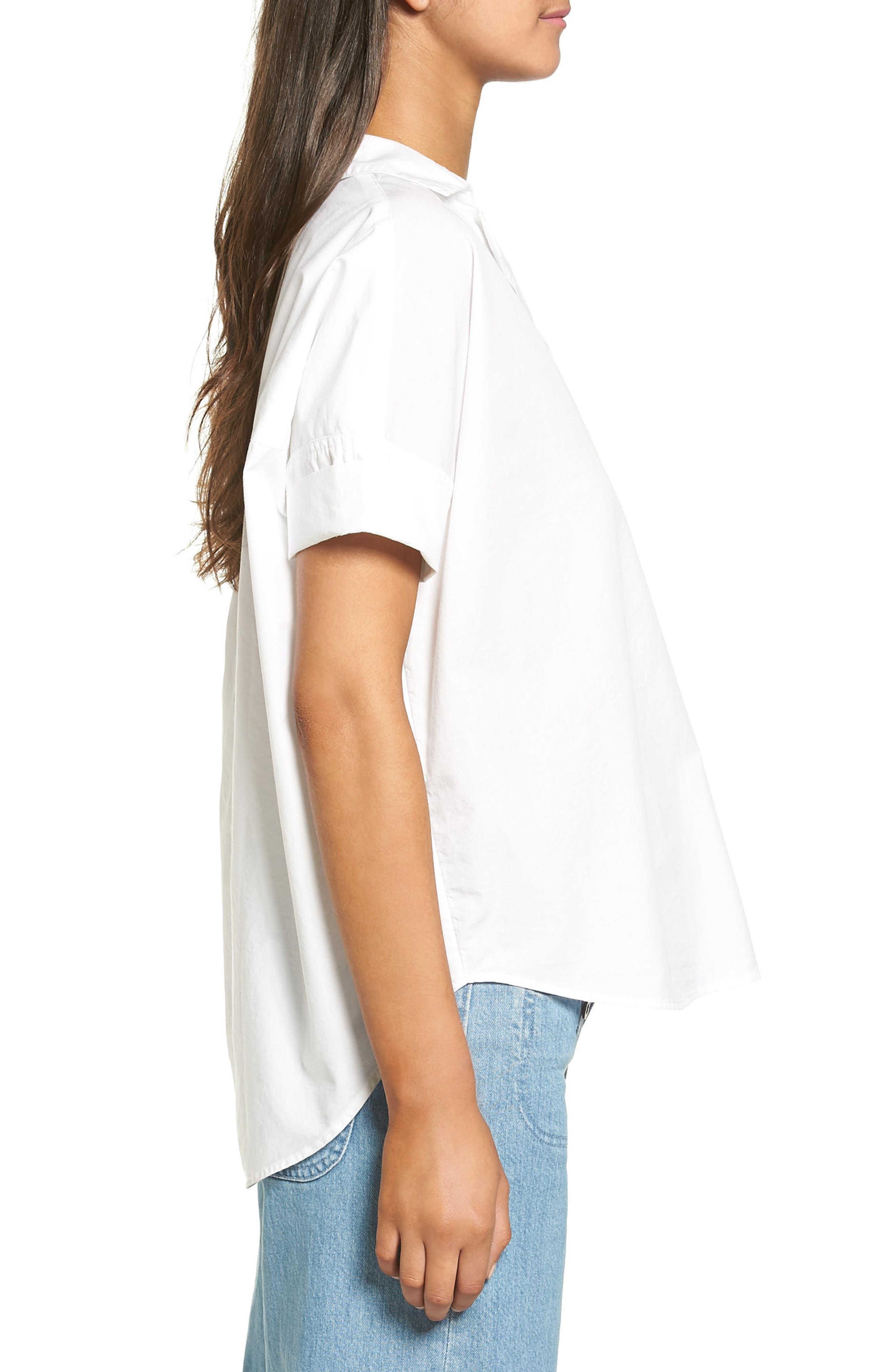 Courier Cotton Shirt,                             Alternate thumbnail 3, color,                             Eyelet White