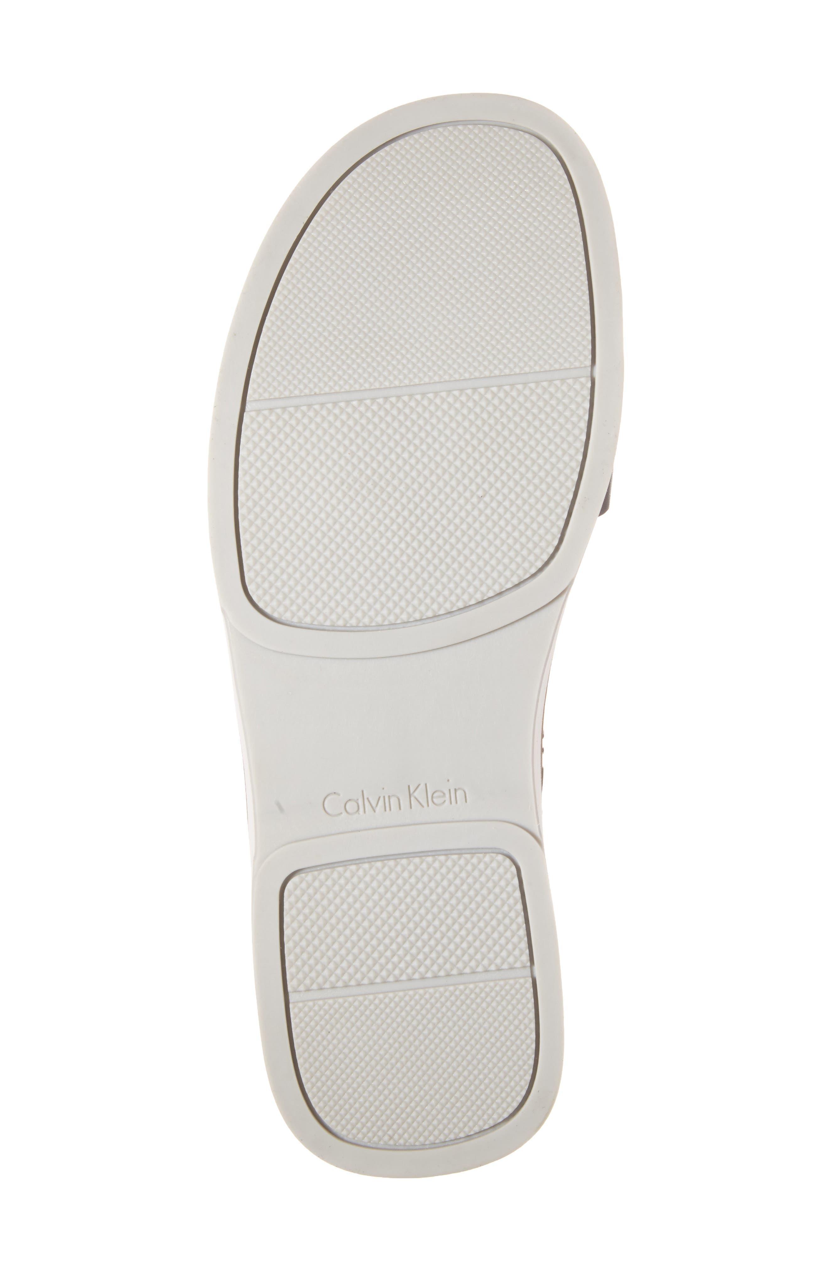 'Dex' Embossed Leather Sandal,                             Alternate thumbnail 4, color,                             Black/Black