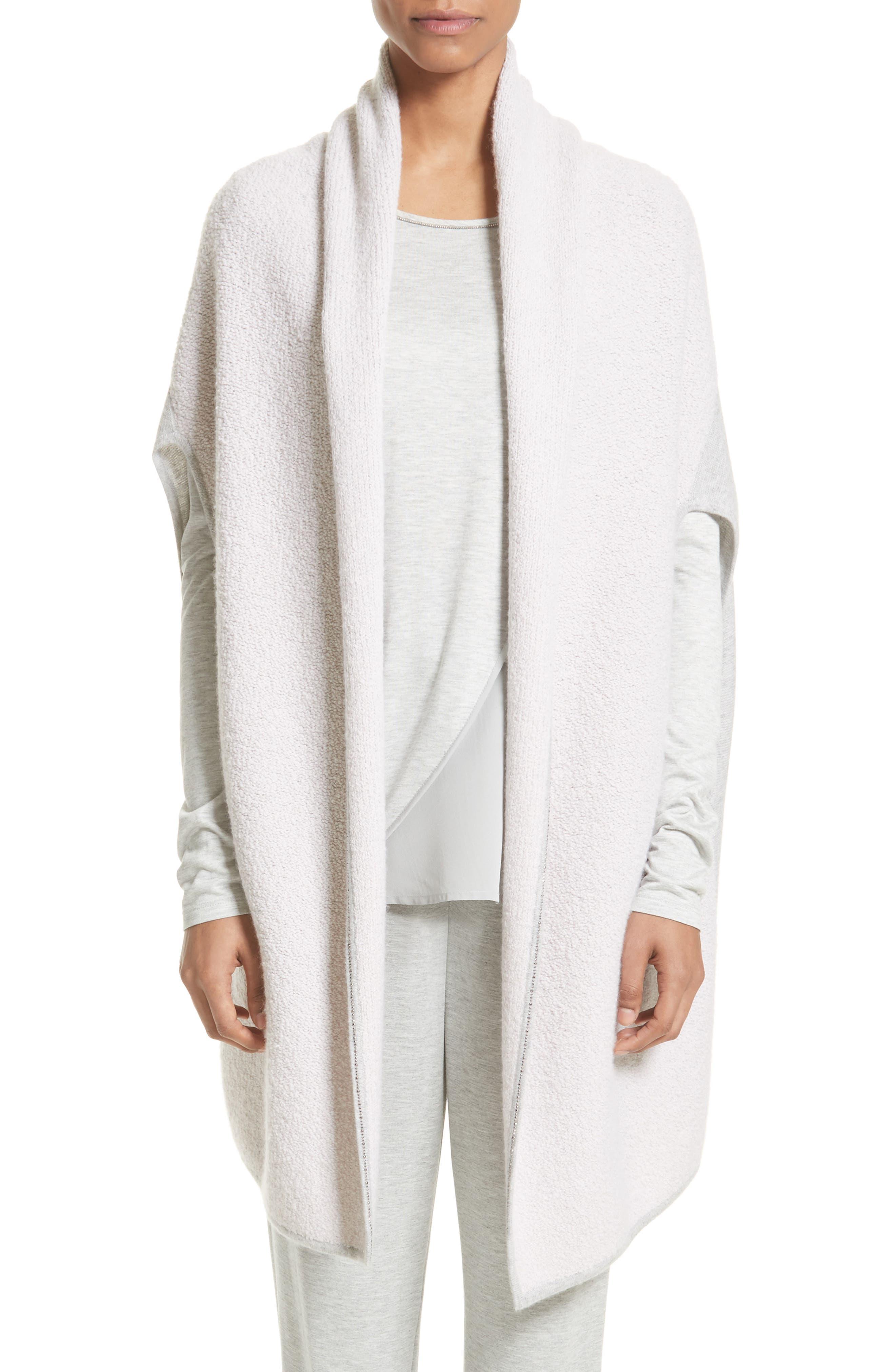 Cashmere Jersey Cardigan,                         Main,                         color, Petal/ Light Grey Melange