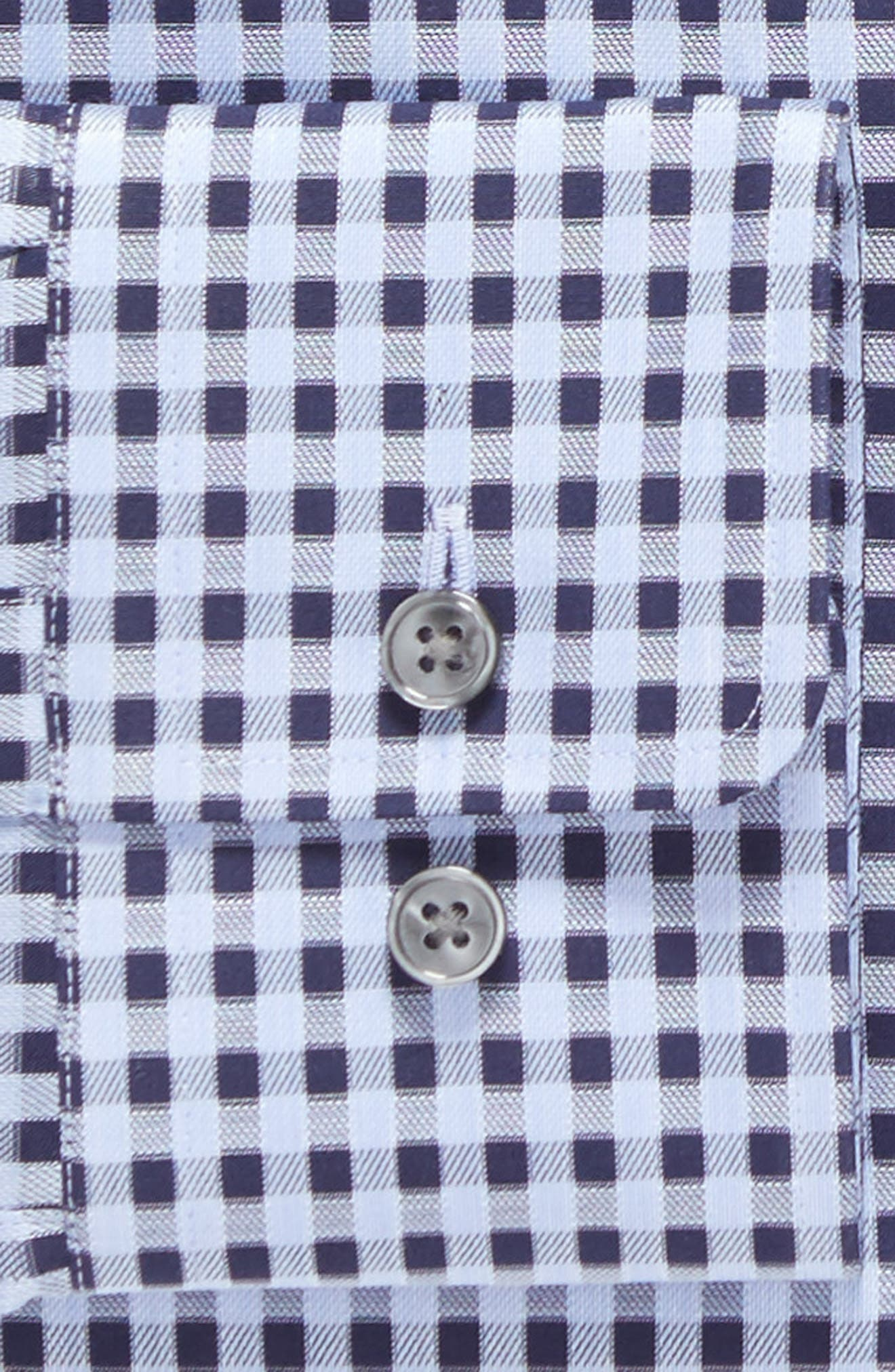 Sharp Fit Check Dress Shirt,                             Alternate thumbnail 4, color,                             Blue