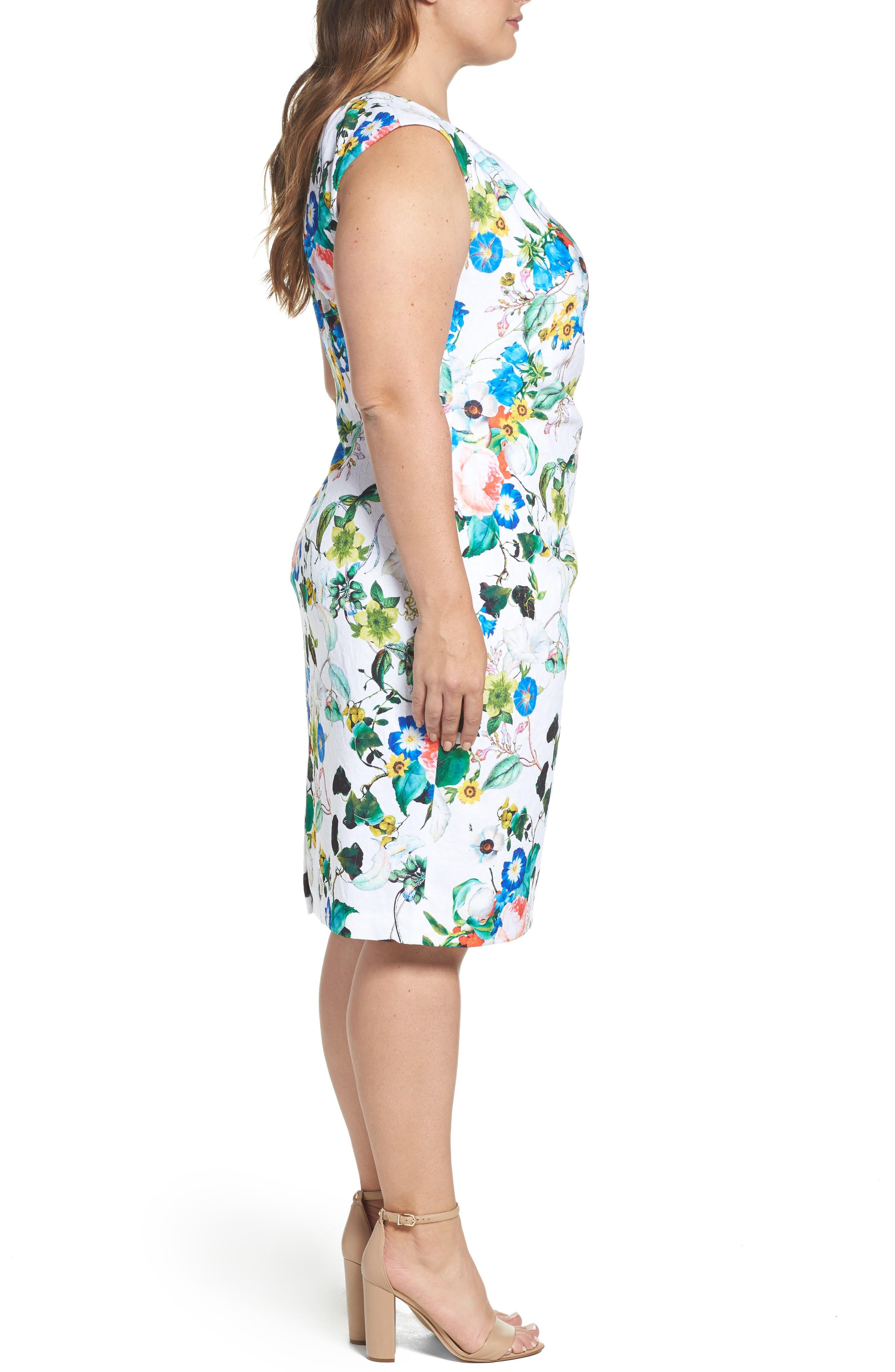 Side Pleat Floral Sheath Dress,                             Alternate thumbnail 3, color,                             Ivory Multi