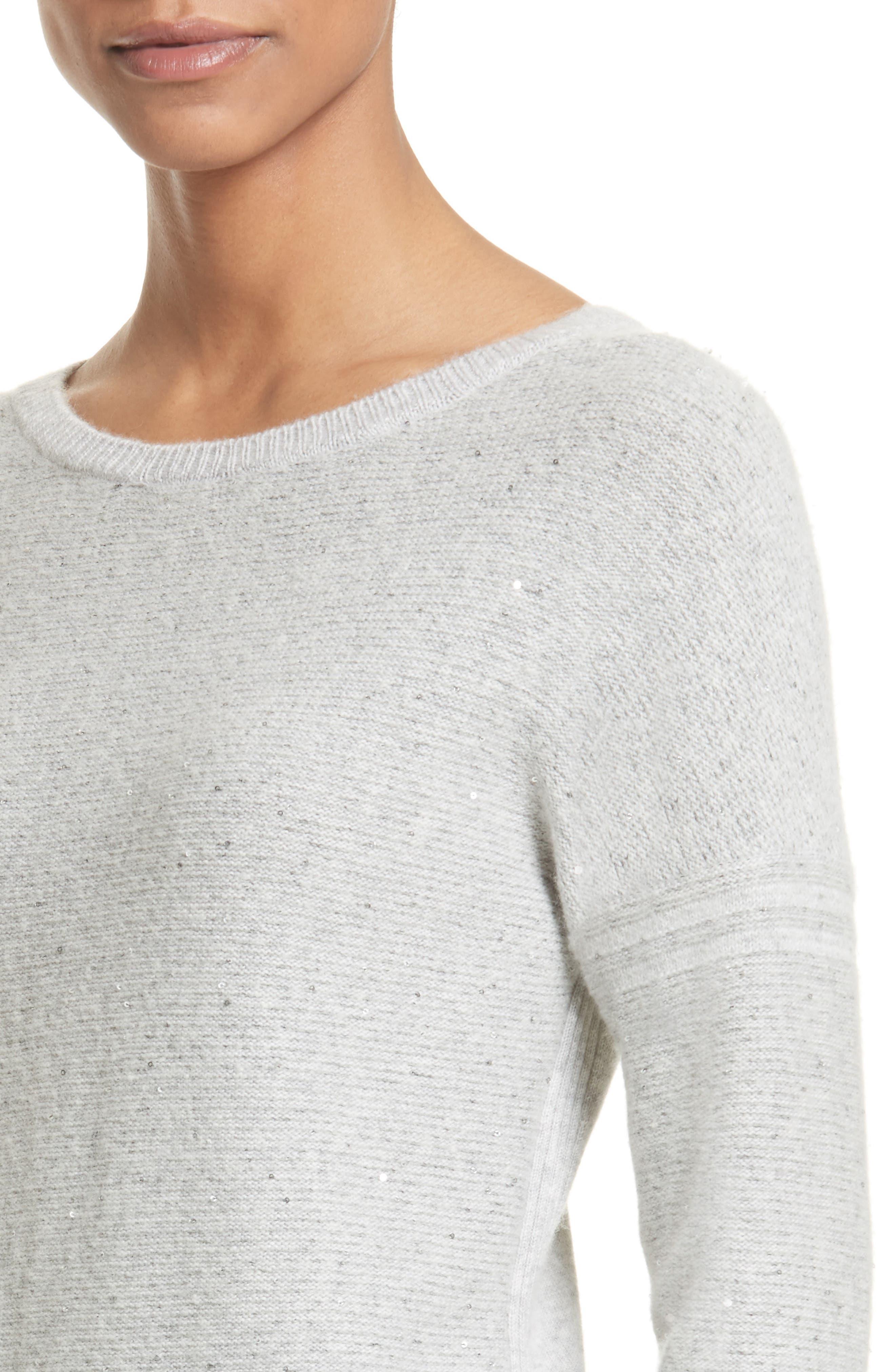 Micro Sequin Stripe Reverse Jersey Cashmere Blend Sweater,                             Alternate thumbnail 4, color,                             Light Grey Melange
