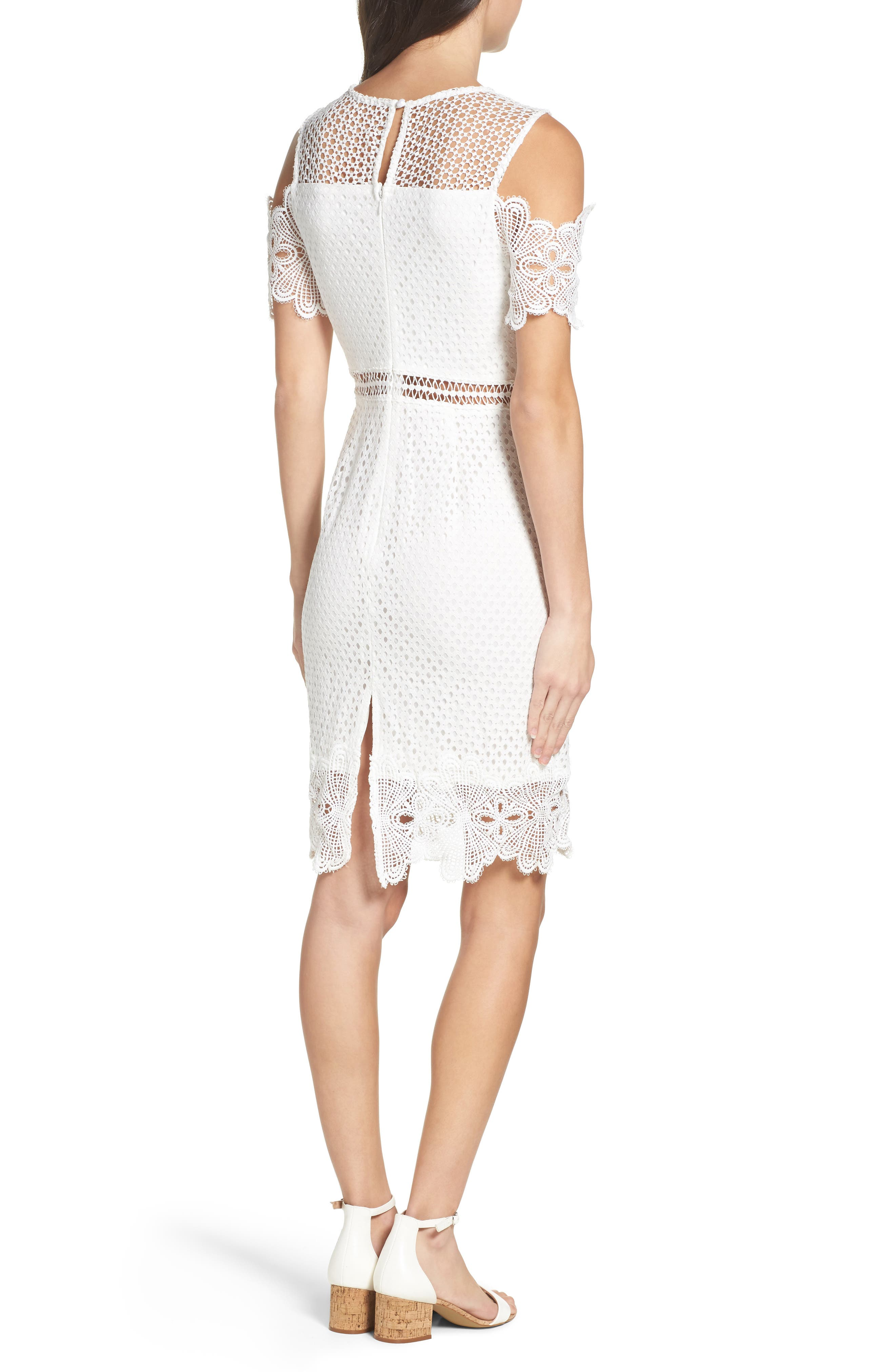 Cold Shoulder Lace Dress,                             Alternate thumbnail 2, color,                             White